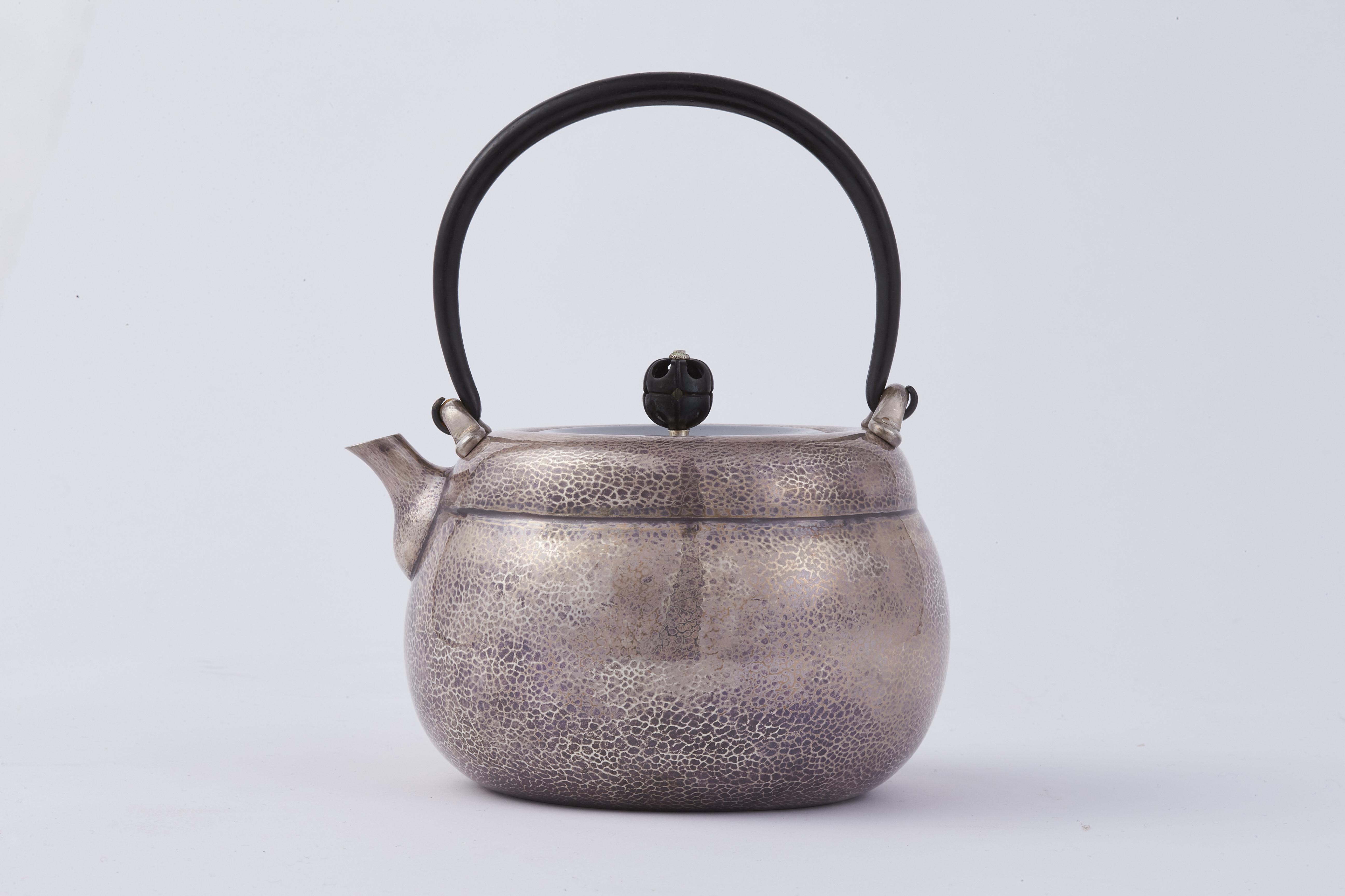 171150「北村静香」造 純銀 一塊打出 重餅形 湯沸 574g