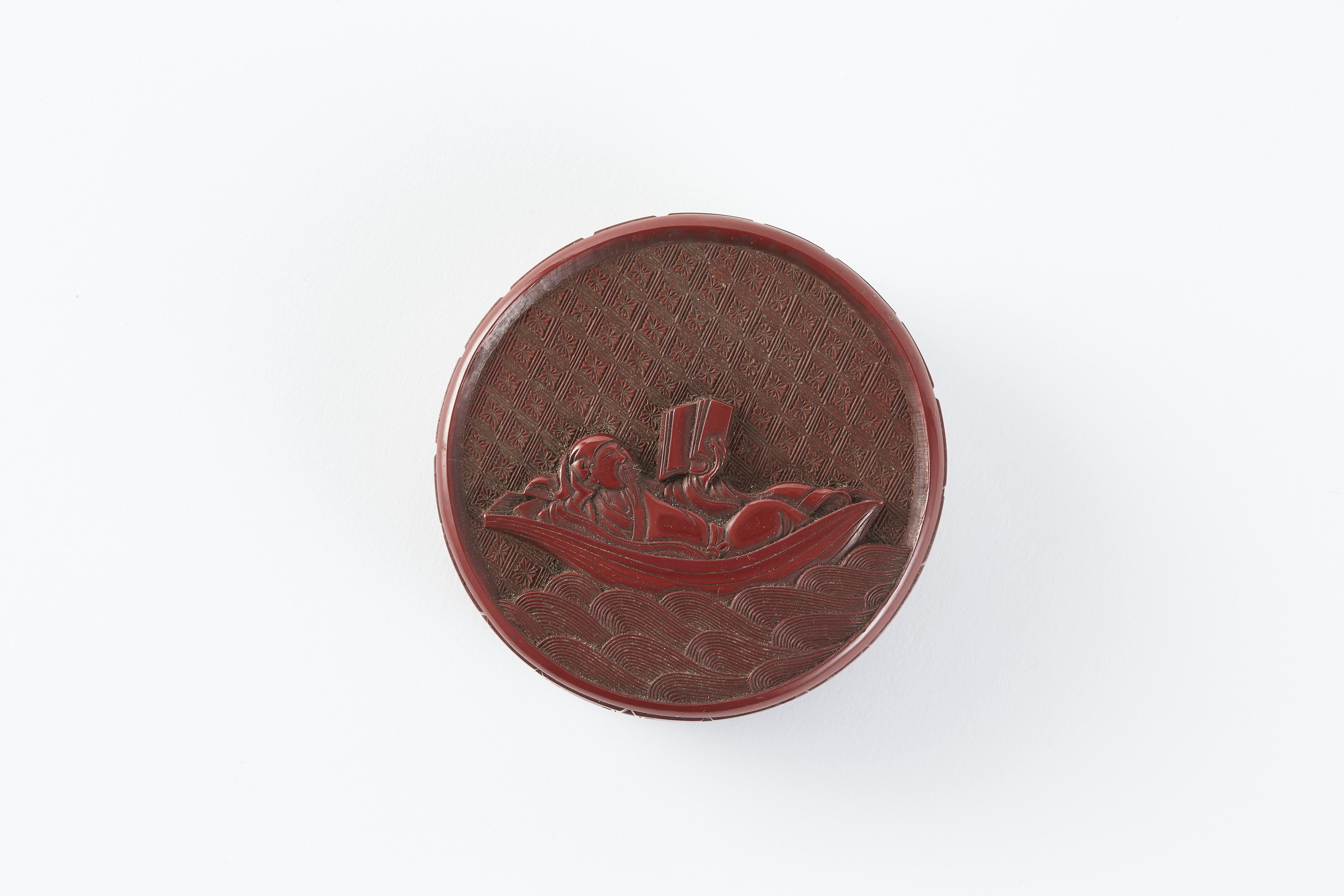 171187明 剔紅雕 舟人物紋 圓盒