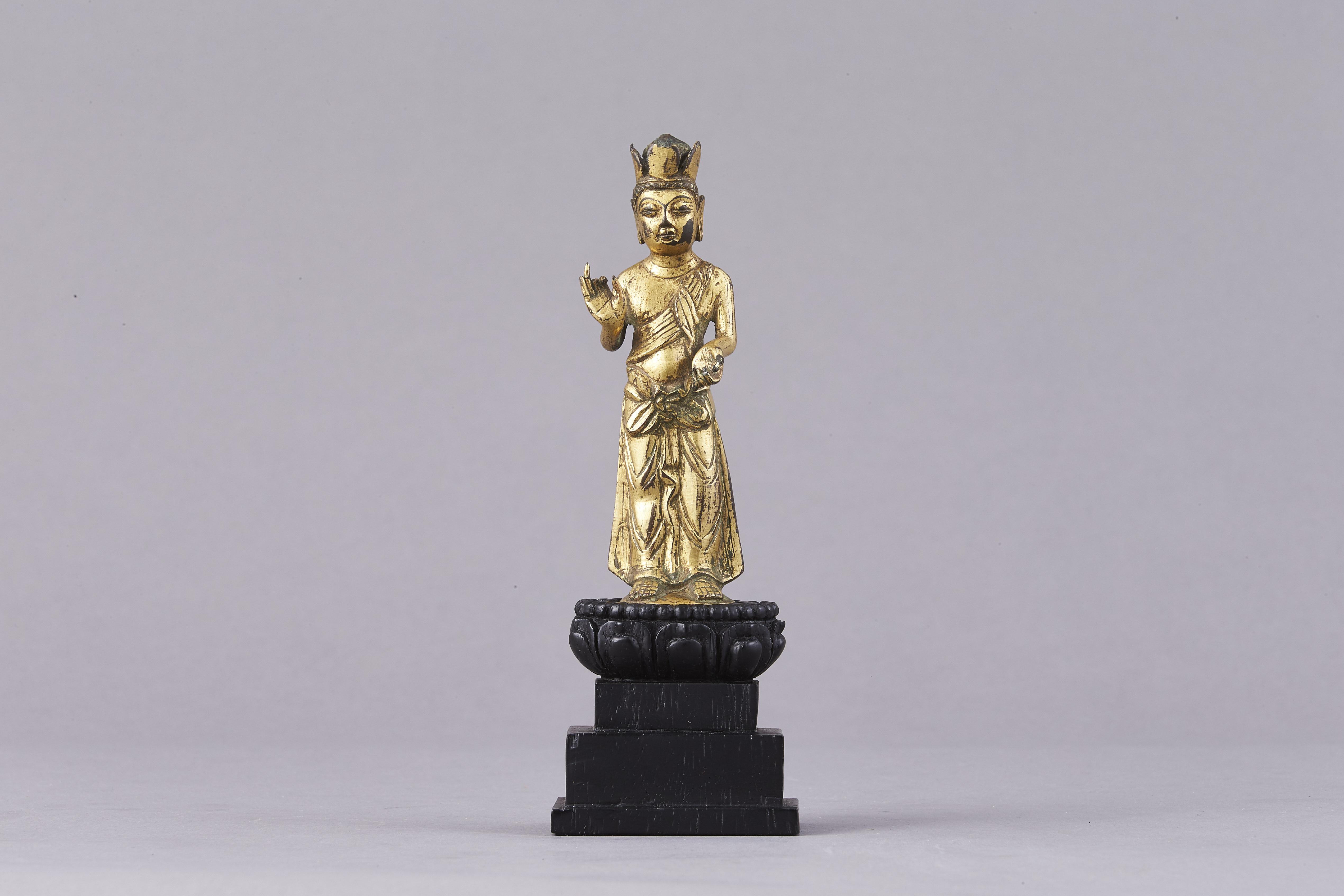 171189北斉 青銅 鎏金 菩薩立像