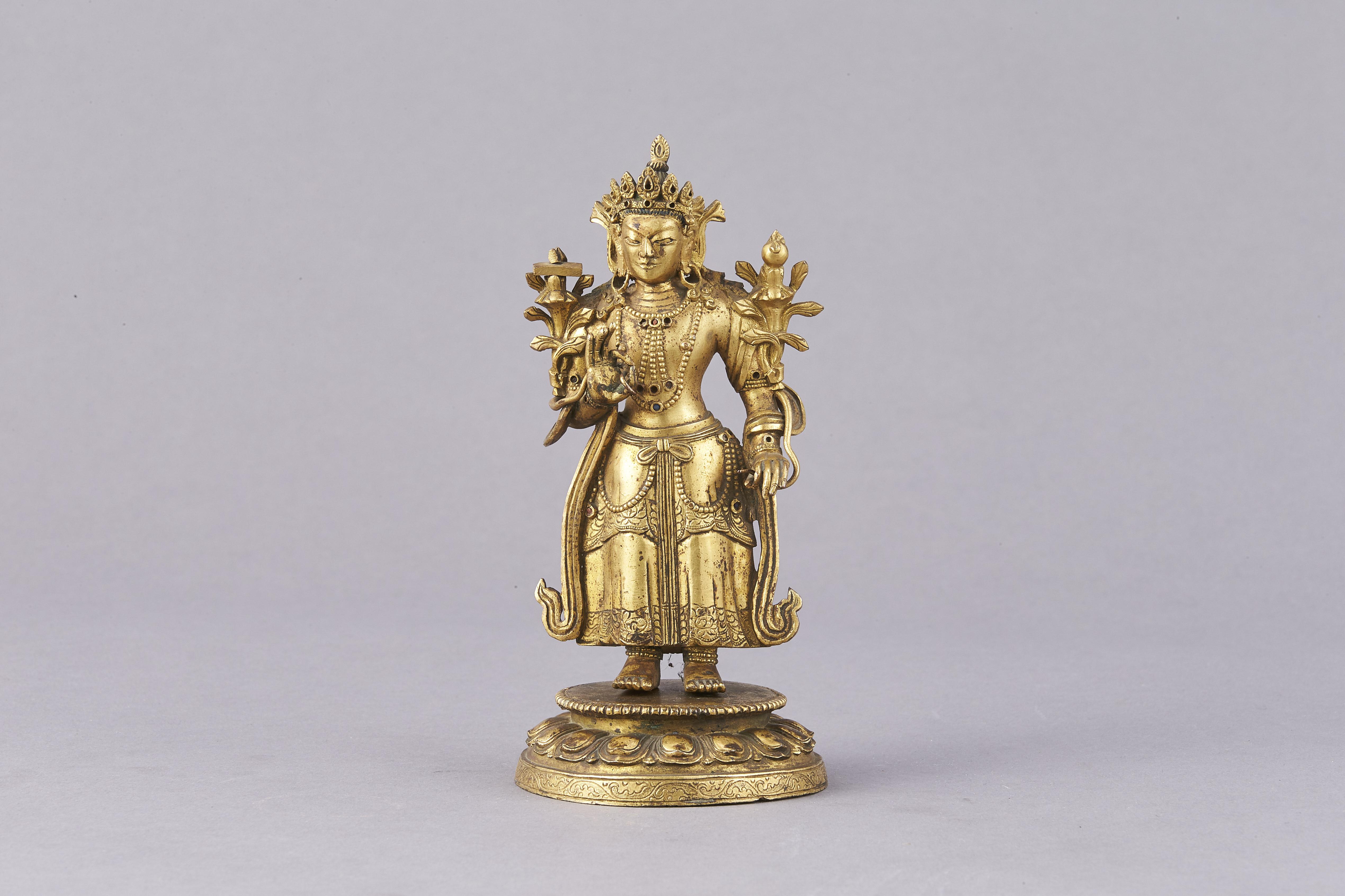 171341清十七/十八世紀 銅鎏金 緑度母 立像