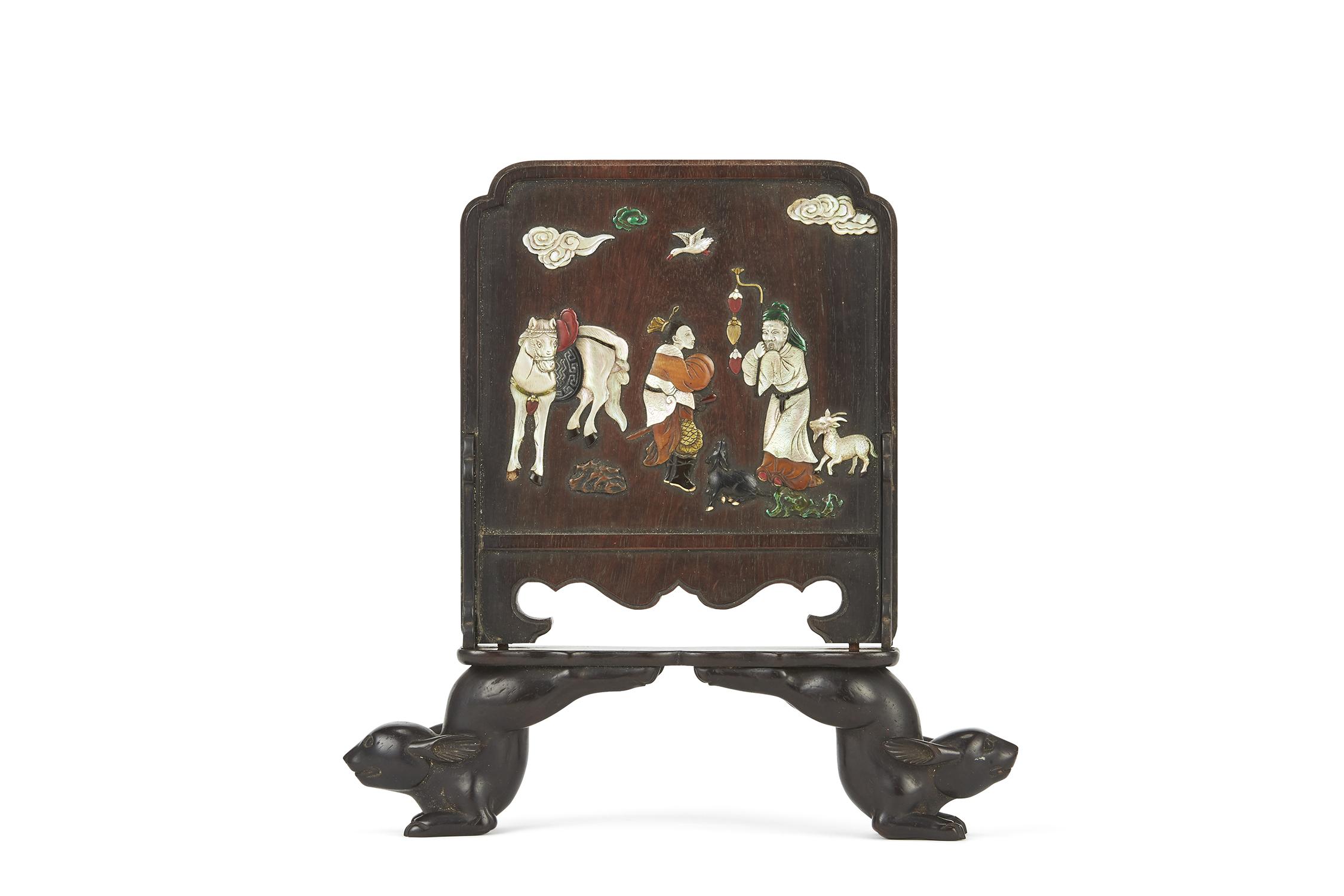 170152明 紫檀嵌百寶 人物紋 硯屏