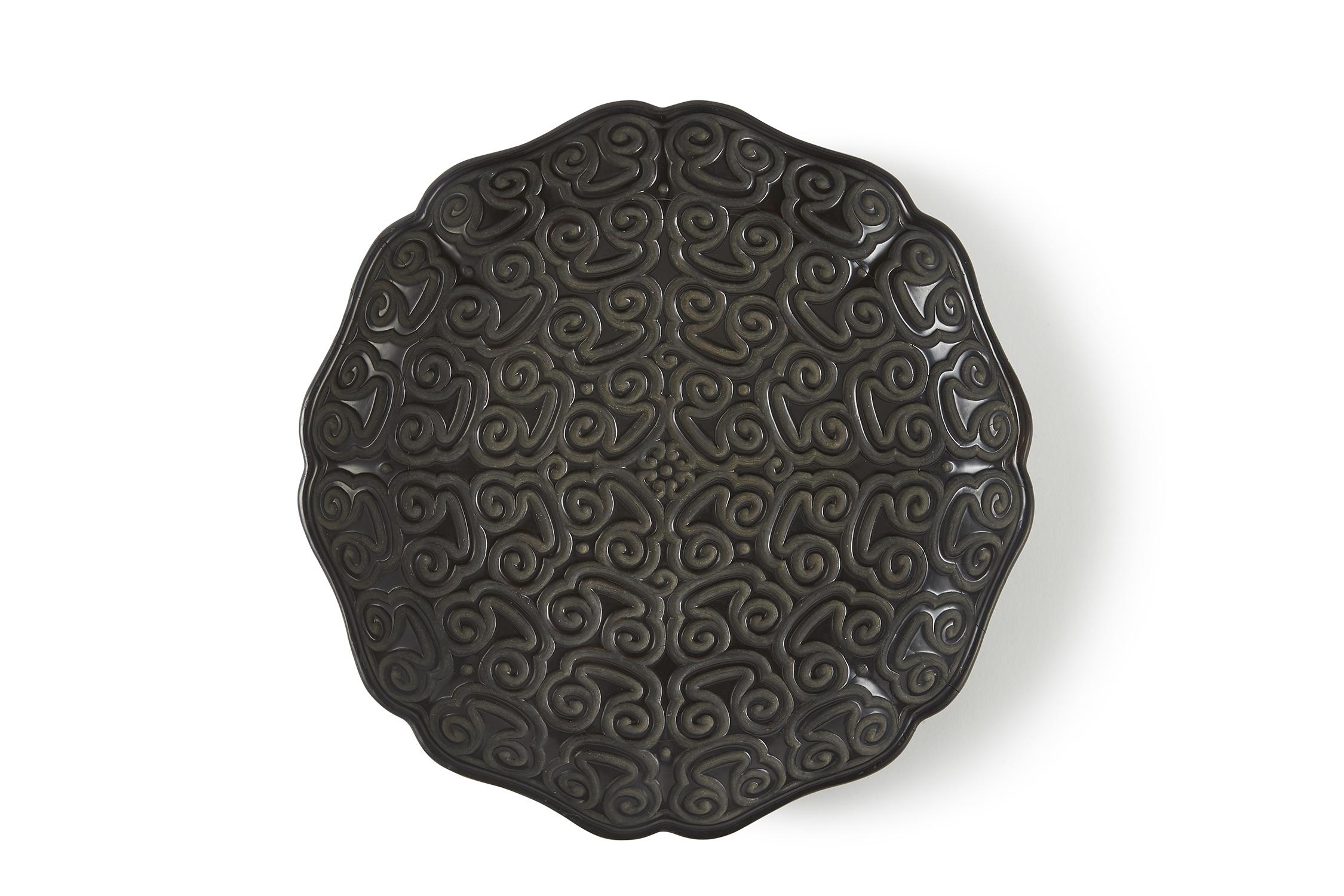 170287明 剔犀雕 如意雲紋 輪花盤