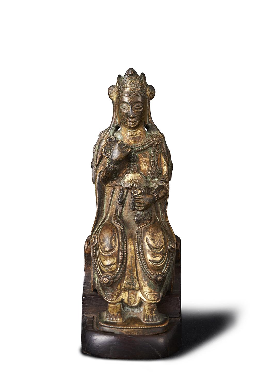 170319六朝 青銅鎏金 観音坐像