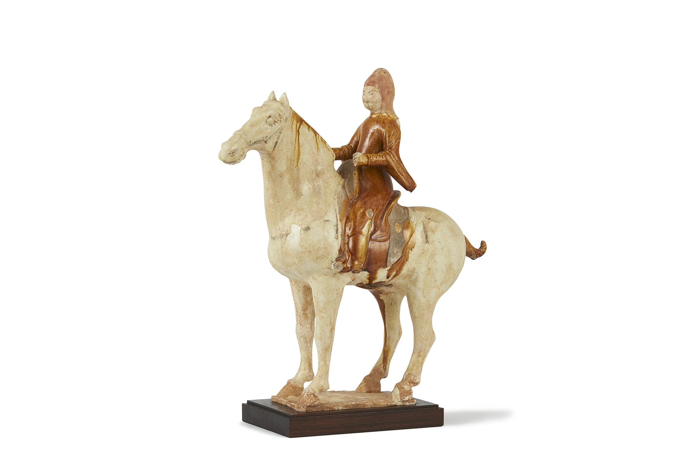 170359唐 加彩 騎馬人物 擺件