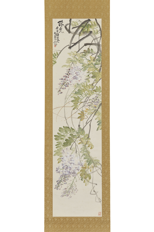 170471「王震」画 藤図 軸140×35cm
