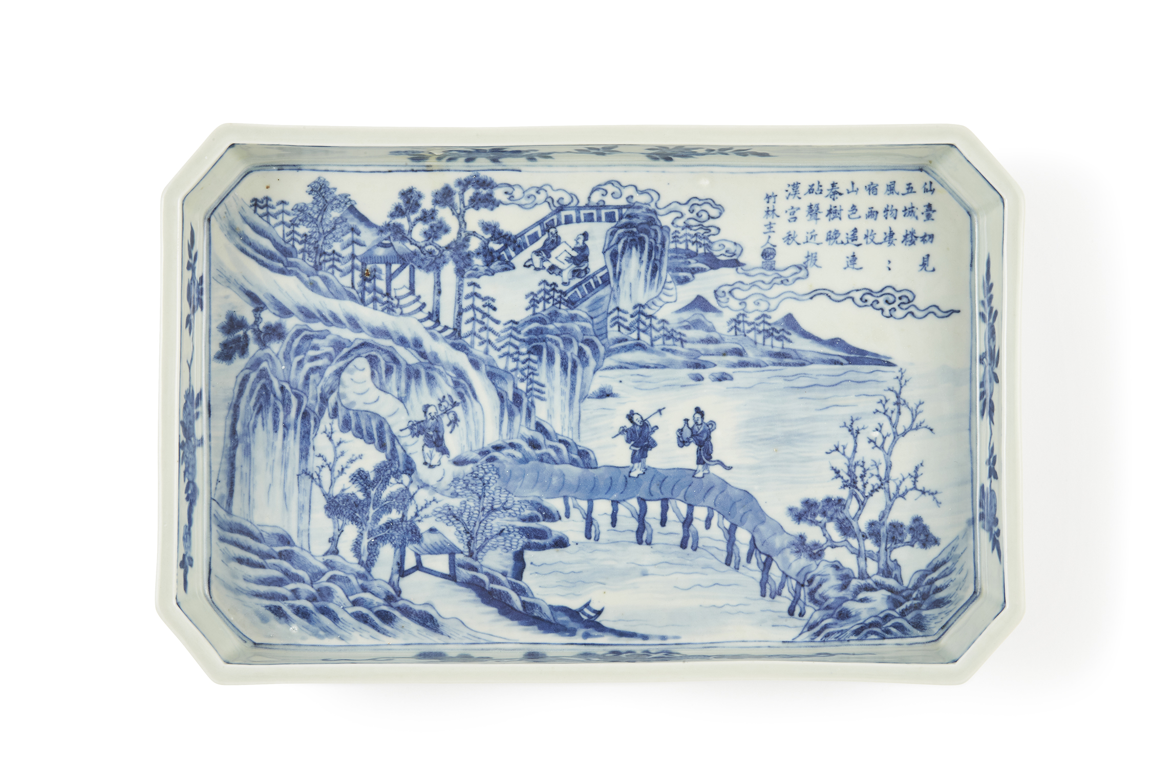 170492清 嘉慶「大清嘉慶年製」款 青花 山水人物 詩文紋 長方盤