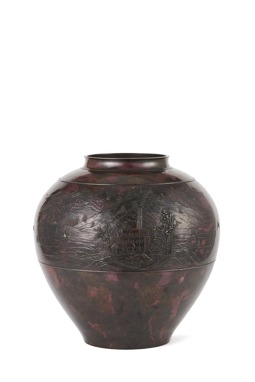 170541「三代琢斎」造 斑紫銅 山水詩文紋 大丸壺