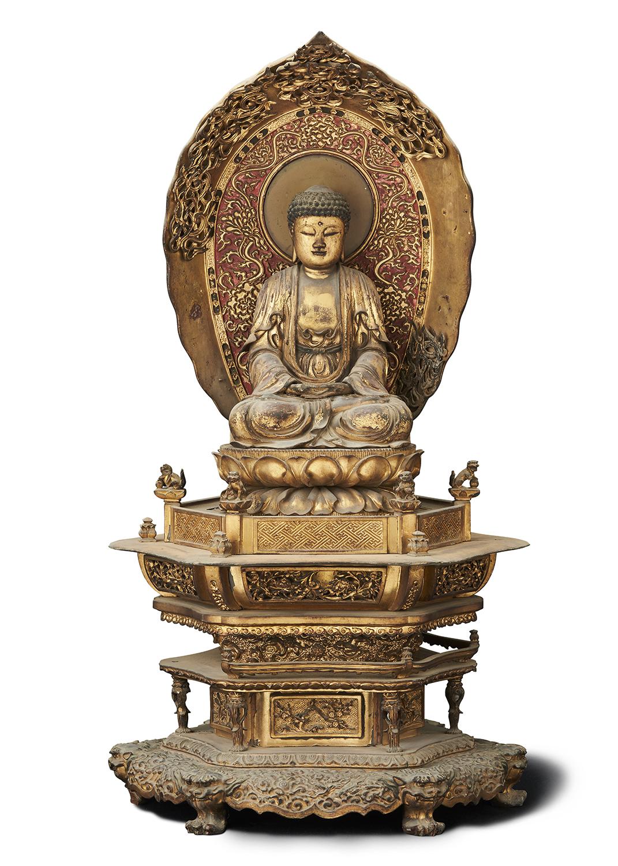 170544清康煕 木雕漆金 釋迦牟尼