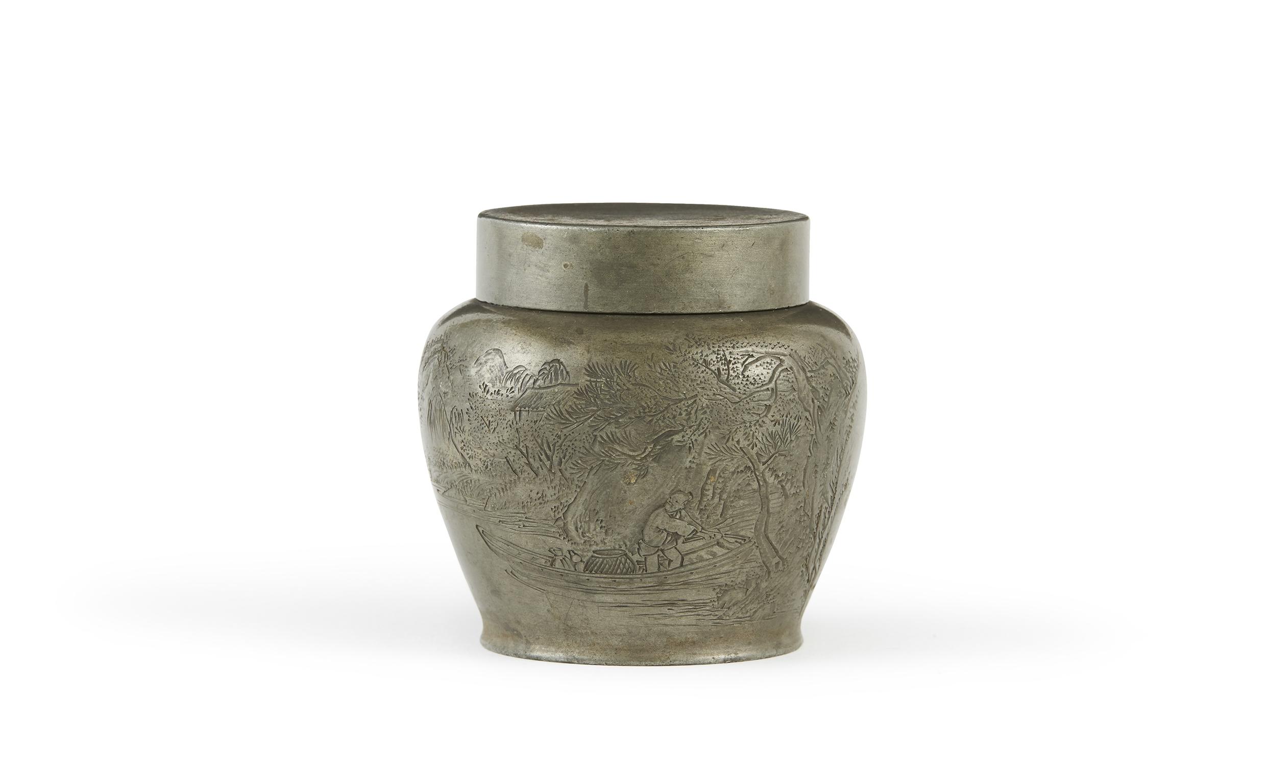 170632清 「沈存周」造 錫刻 舟人物詩文紋 茶缸