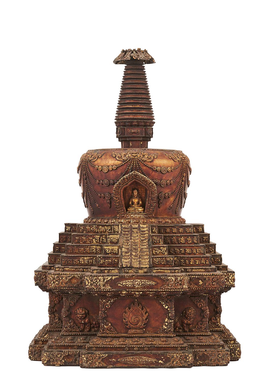 170859西蔵十七世紀 木雕漆金佛塔