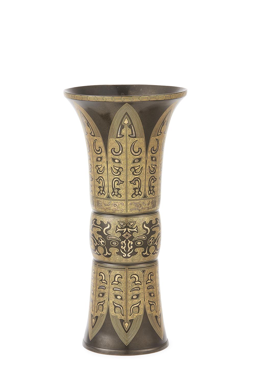 170903「金栄堂」造 銅錯金 饕餮紋 尊式瓶