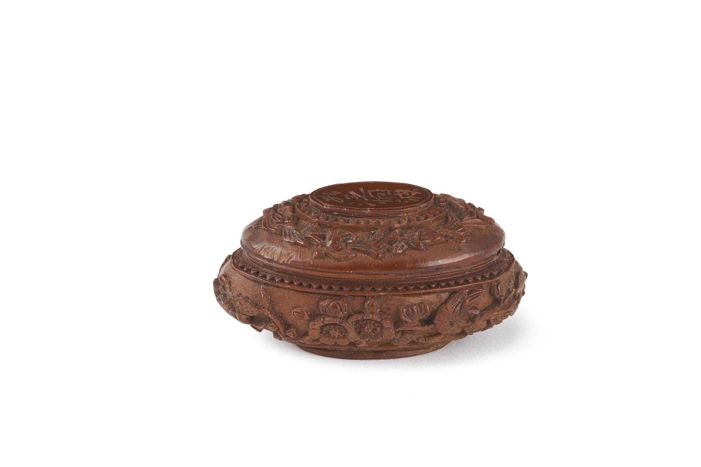 170937清 在銘 核雕 花鳥紋 蓋盒