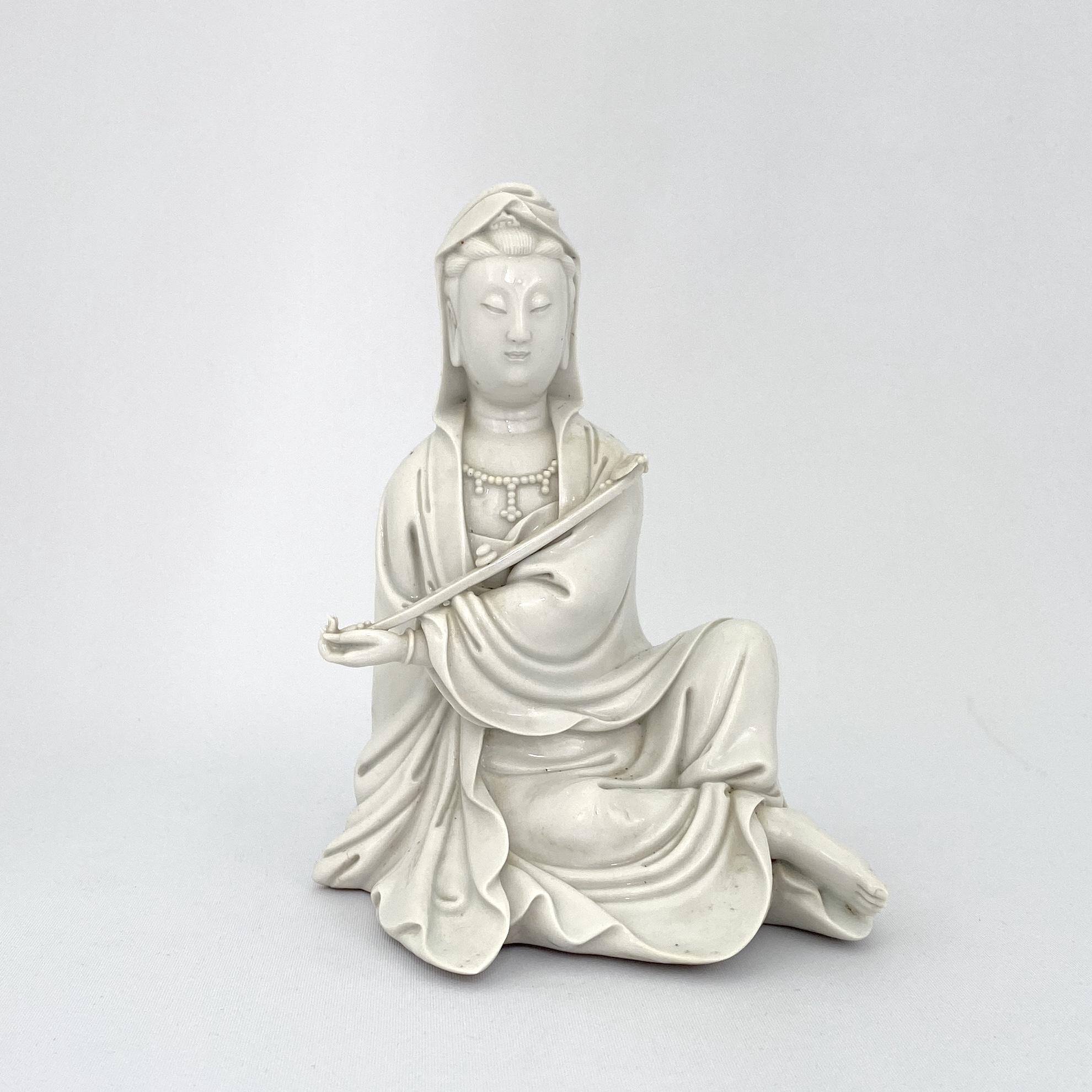10010清乾隆「博及漁人」款 徳化窯 観音坐像