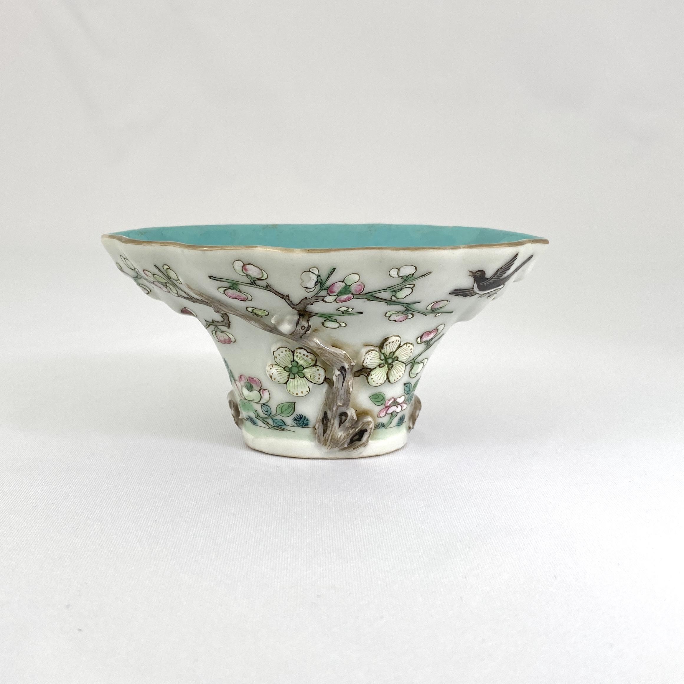 10121清「大清道光年製」款 粉彩 花鳥紋 杯