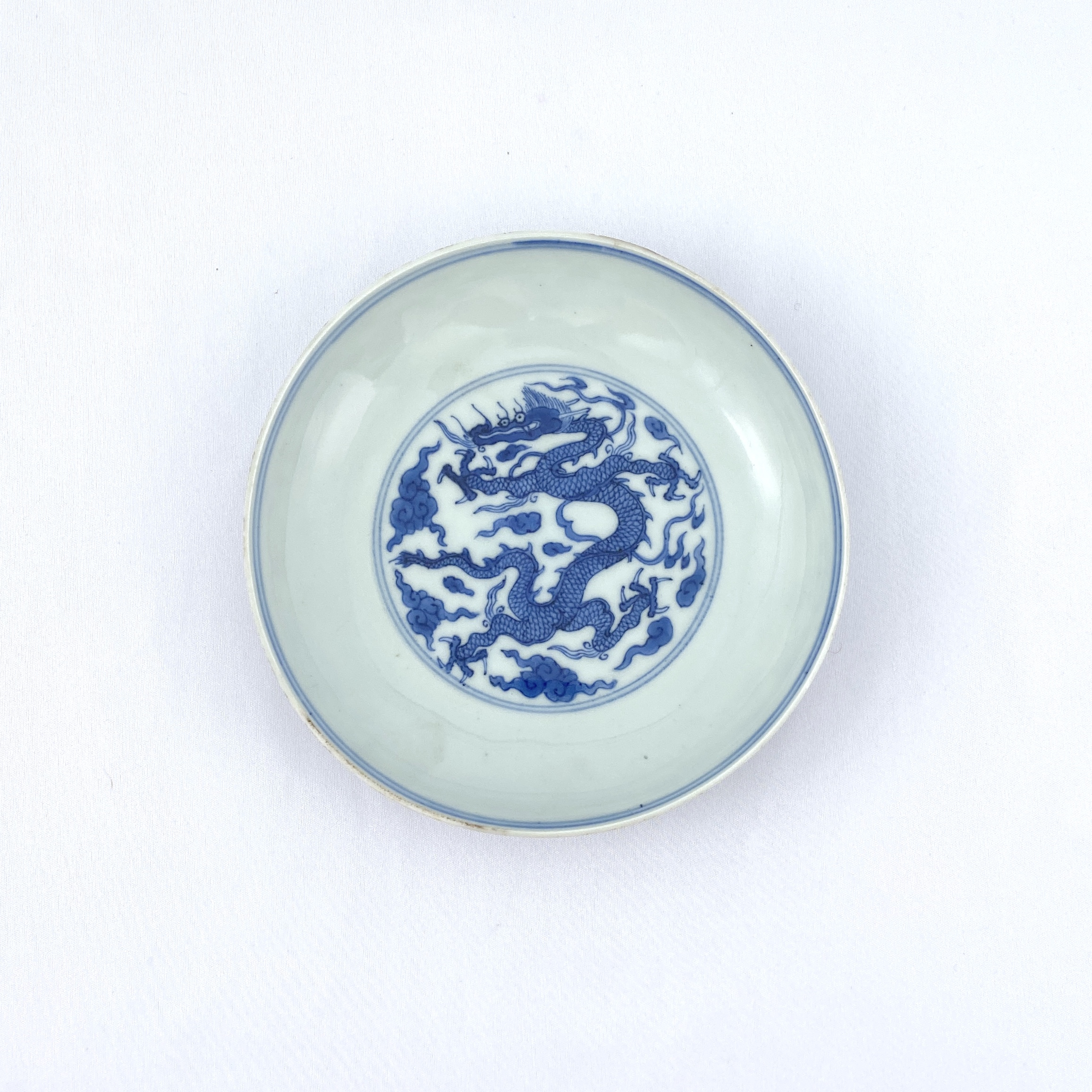10124明末清初「大明宣徳年製」款 青花 雲龍図 盤