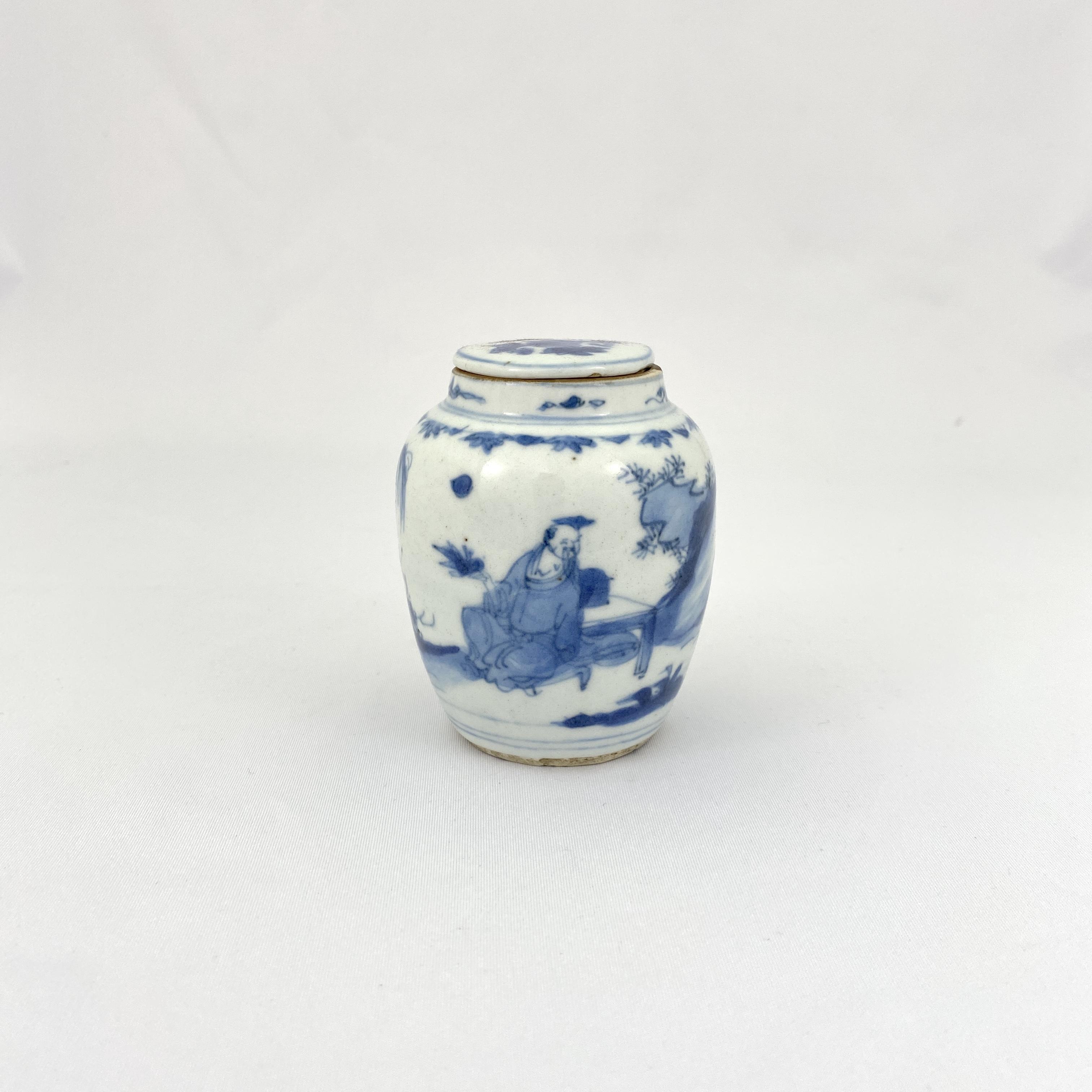 10131明末清初 青花 山水人物図 蓋瓶