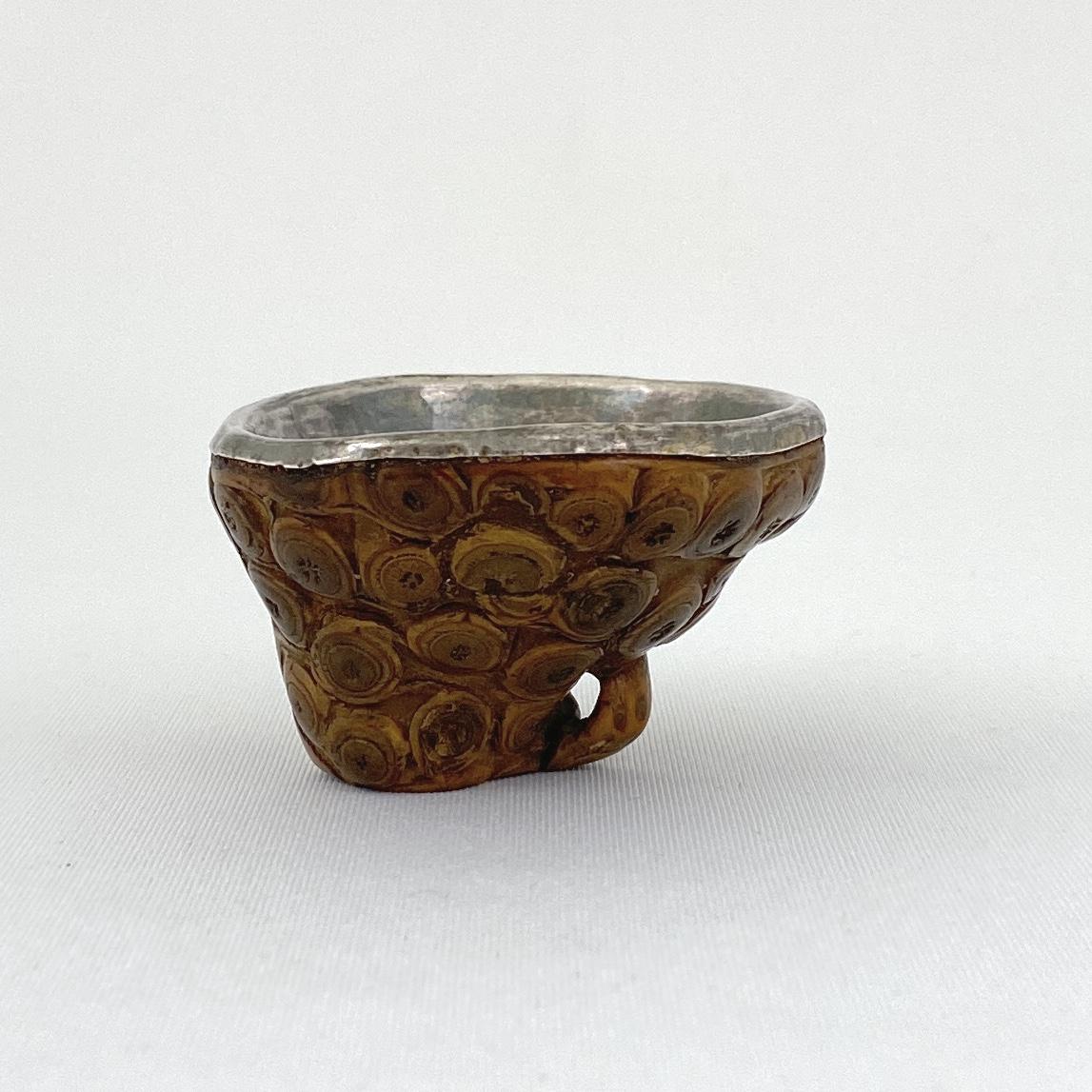 10141清 奇竹雕内銀貼 杯