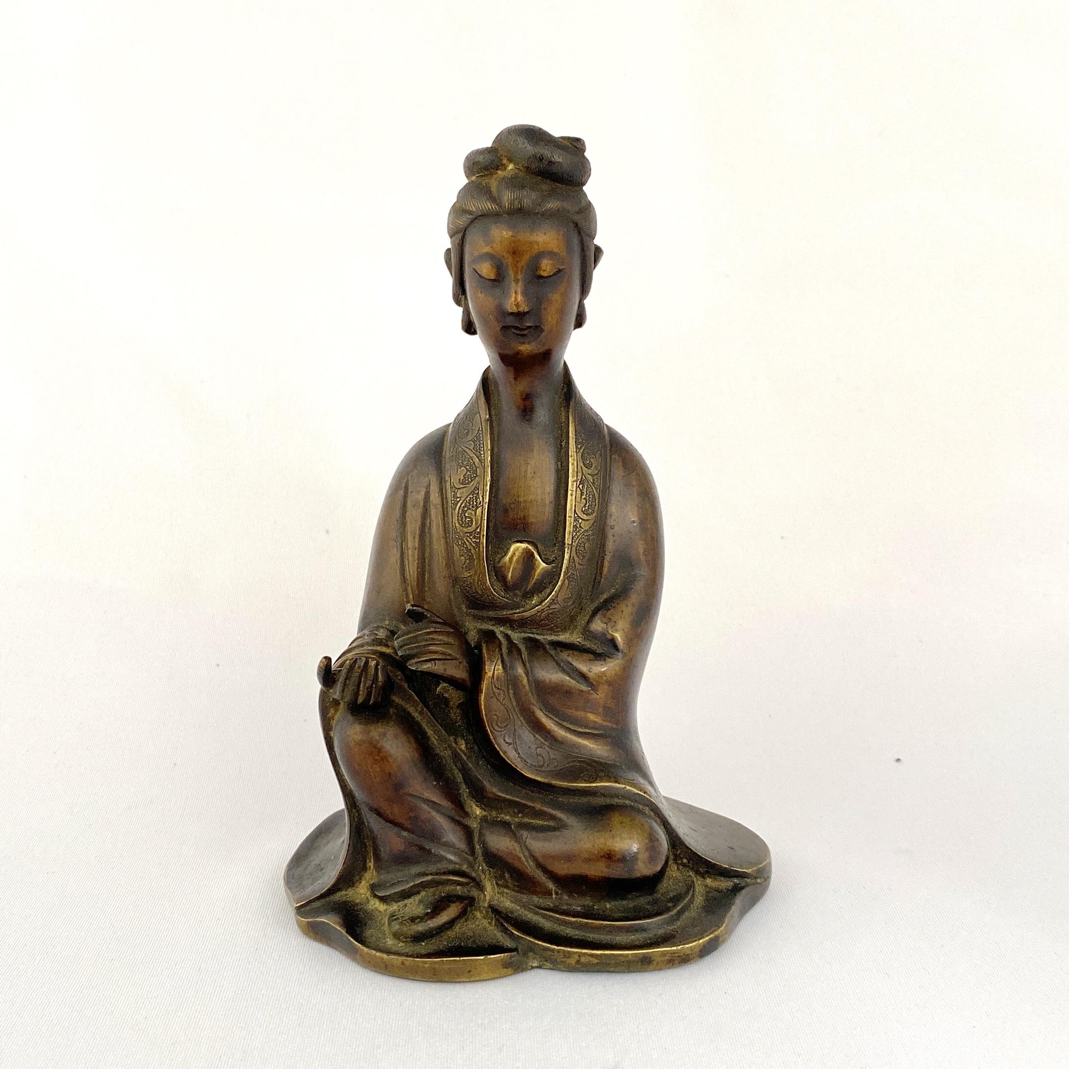 10152清 黄銅 観音像