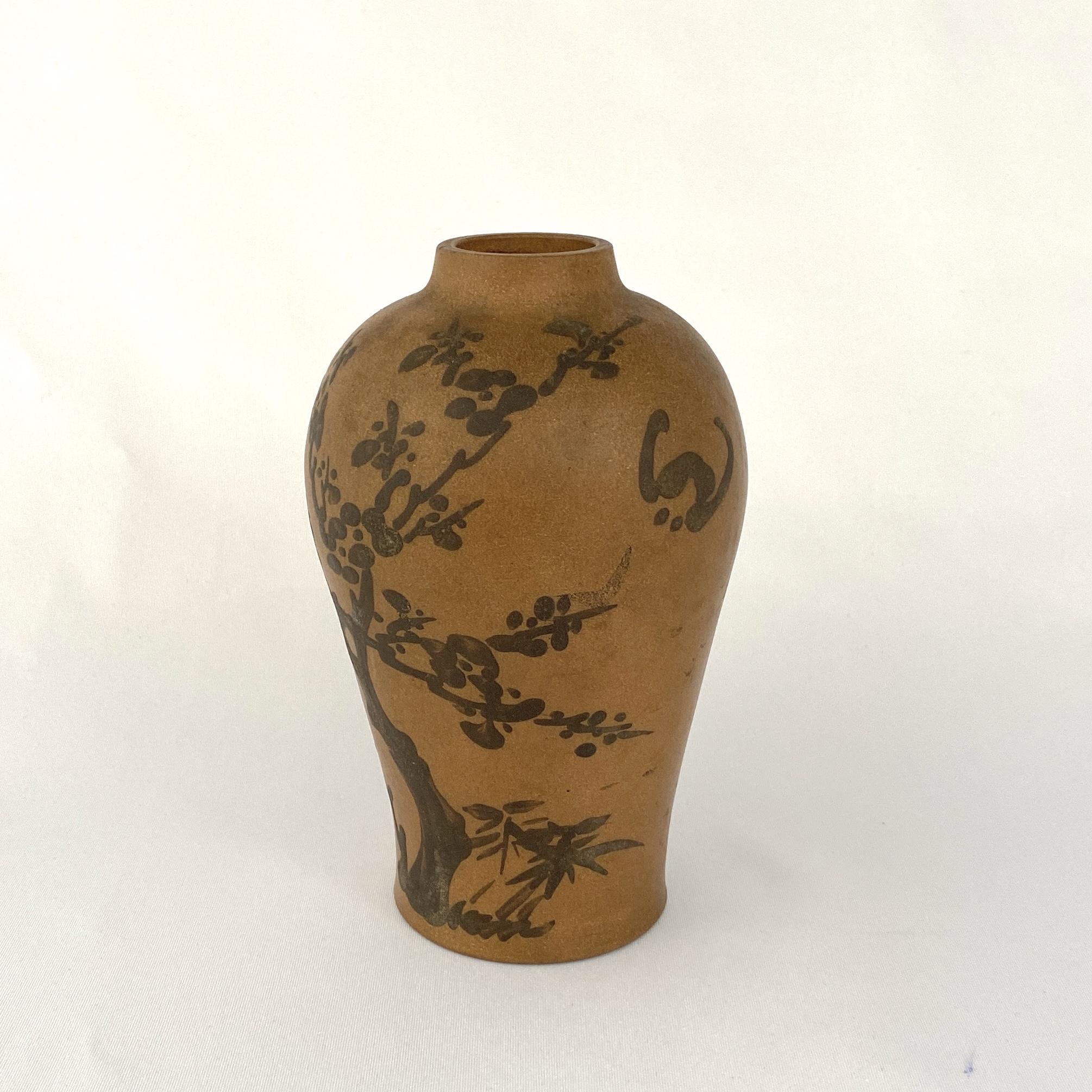 10154清 朱泥泥絵 花鳥紋 瓶