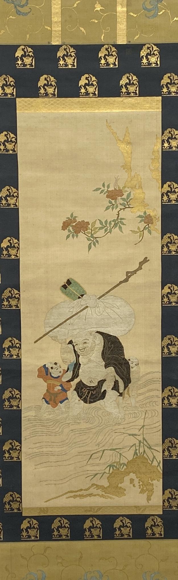 10183錦 布袋童子紋 軸