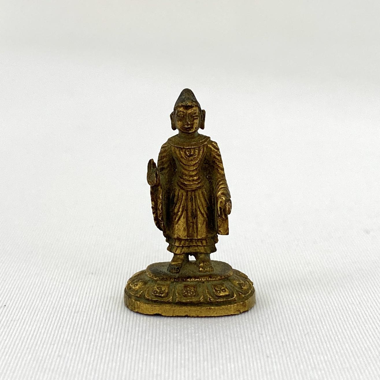 10184十八世紀 銅鎏金 釋迦牟尼立像  14g