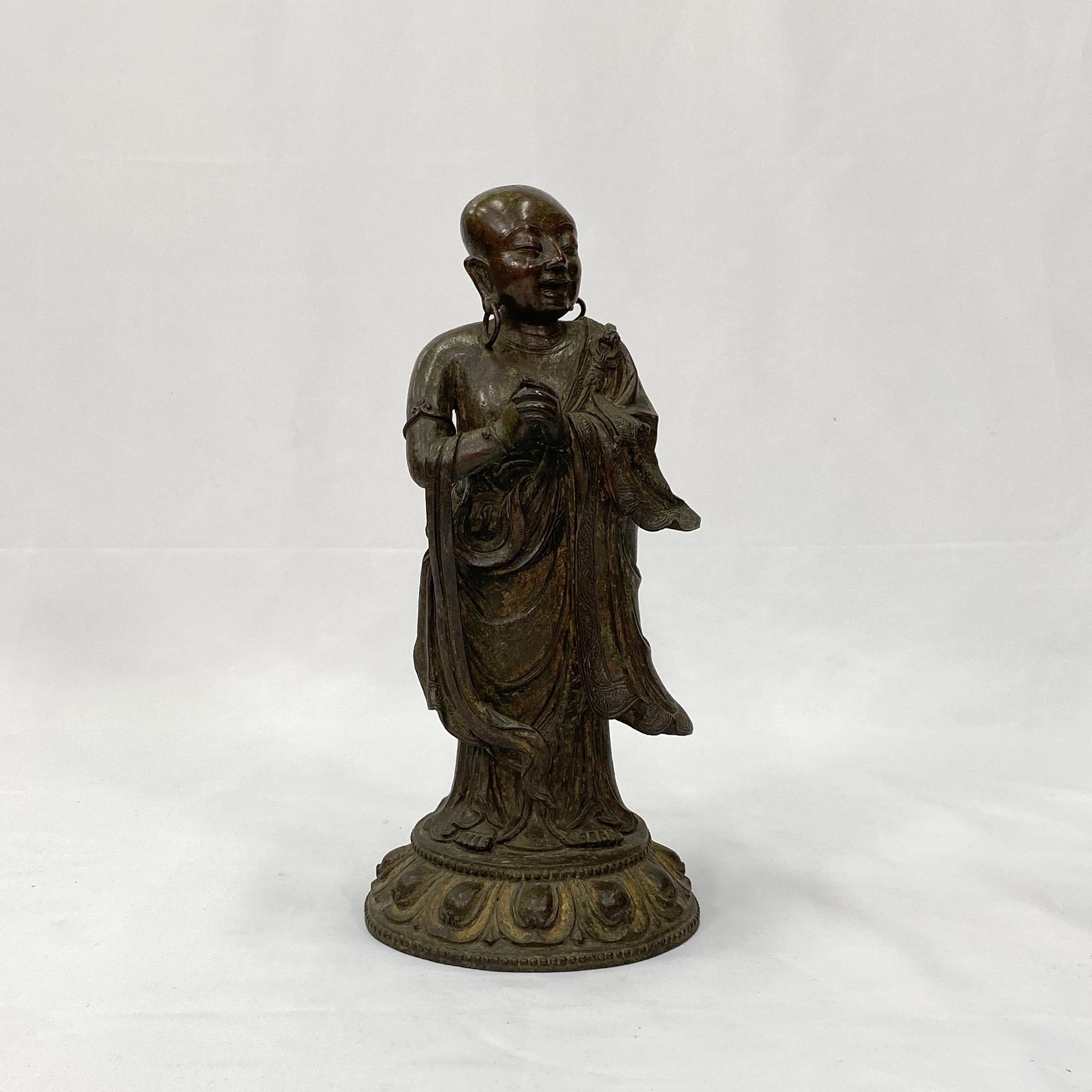 10188明 銅漆金 羅漢立像