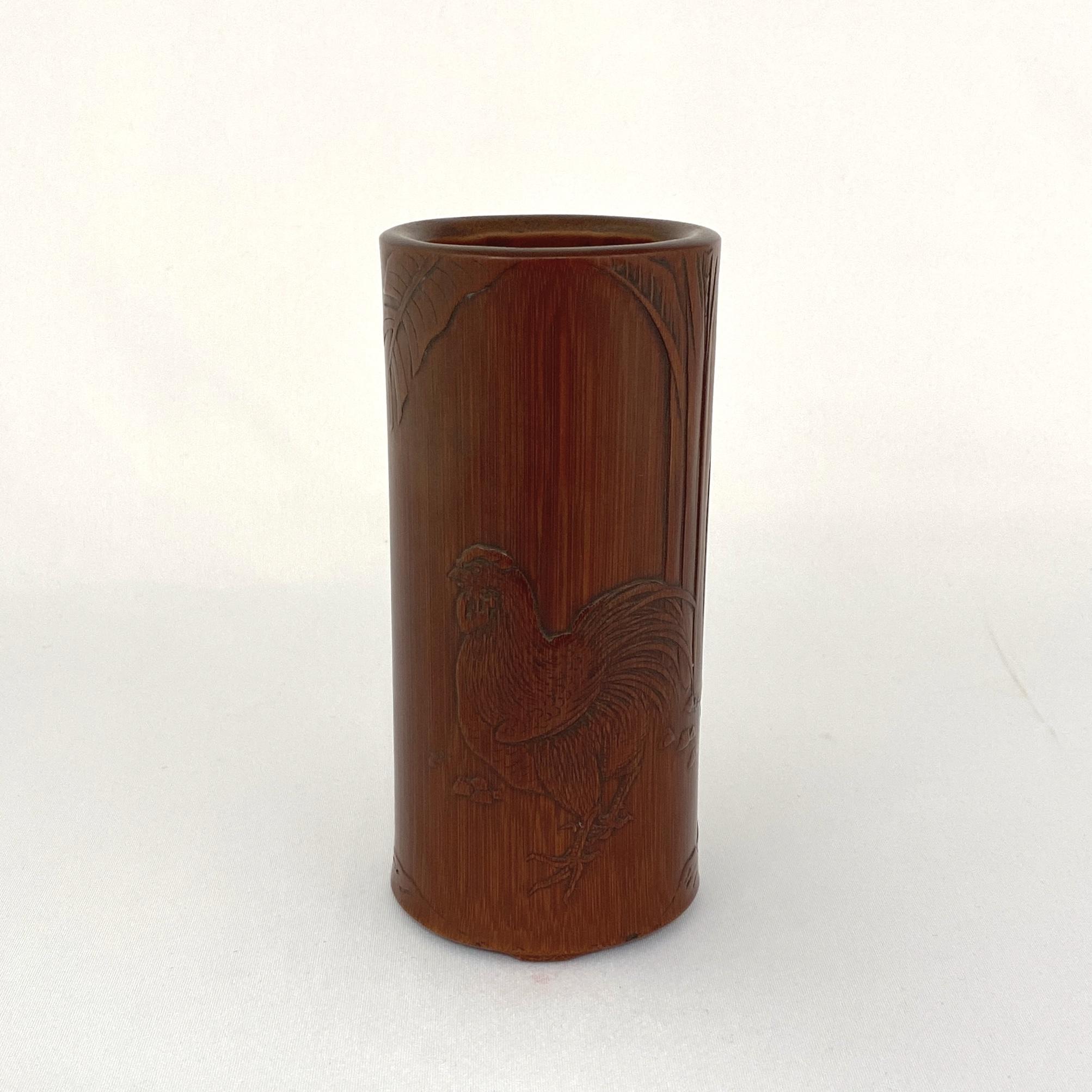 10020清中期 竹雕 芭蕉鶏紋 筆筒