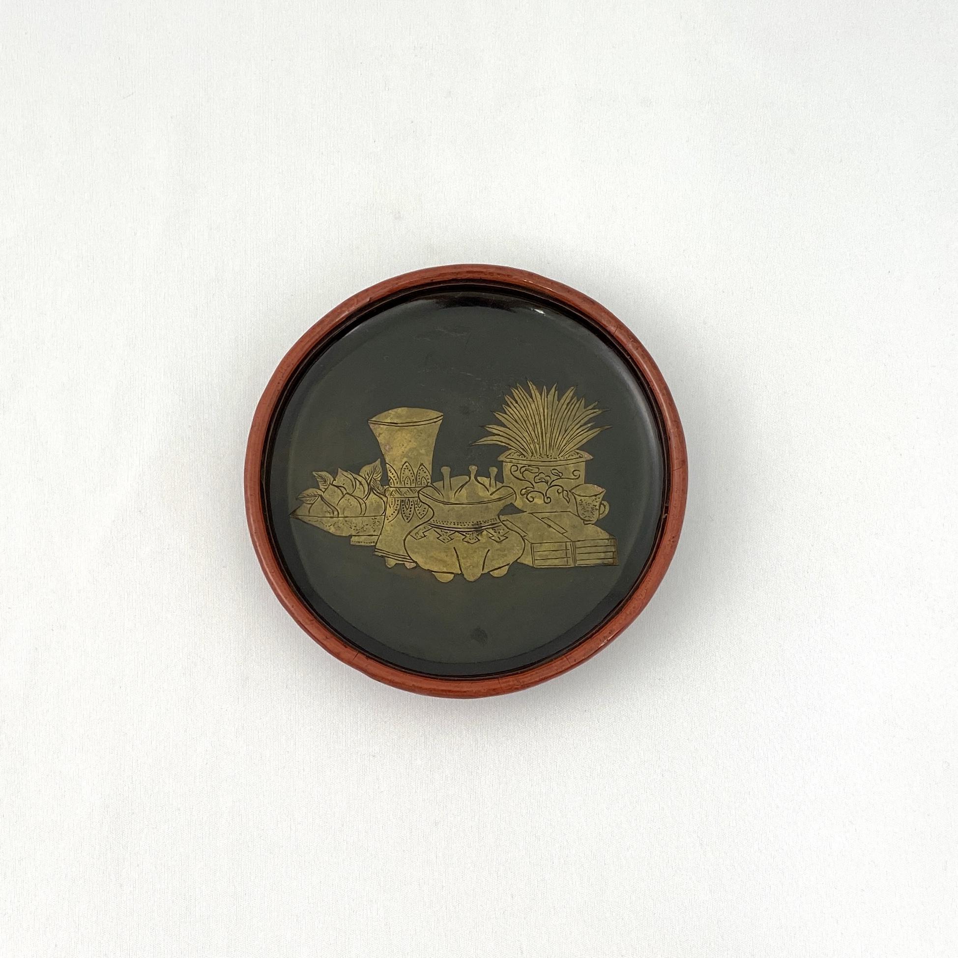 10217明 内黒漆外剔紅雕 花紋 盤