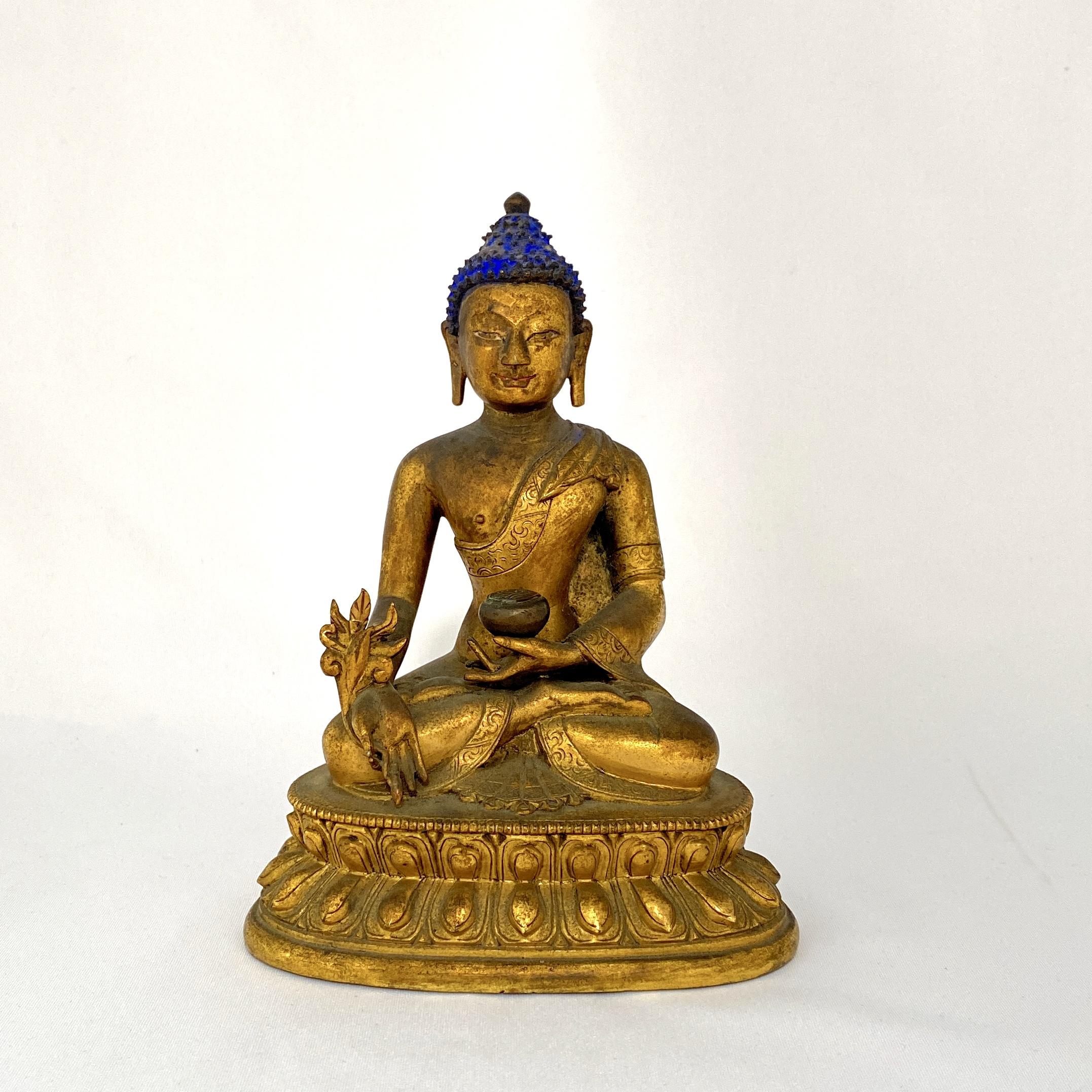 10026清十八世紀 銅鎏金 薬師佛坐像  1060g