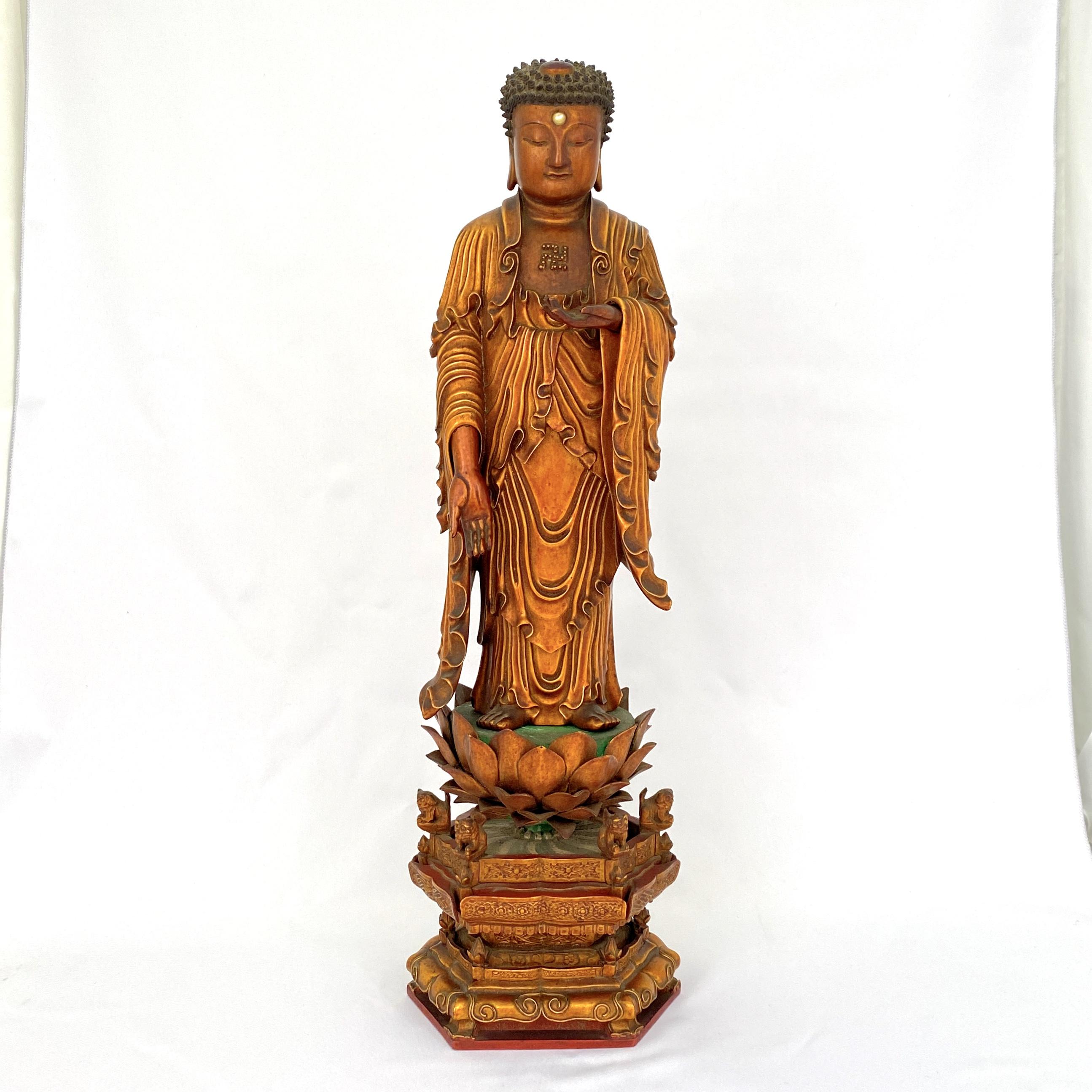 10030清康煕 木雕漆金 釋迦牟尼立像