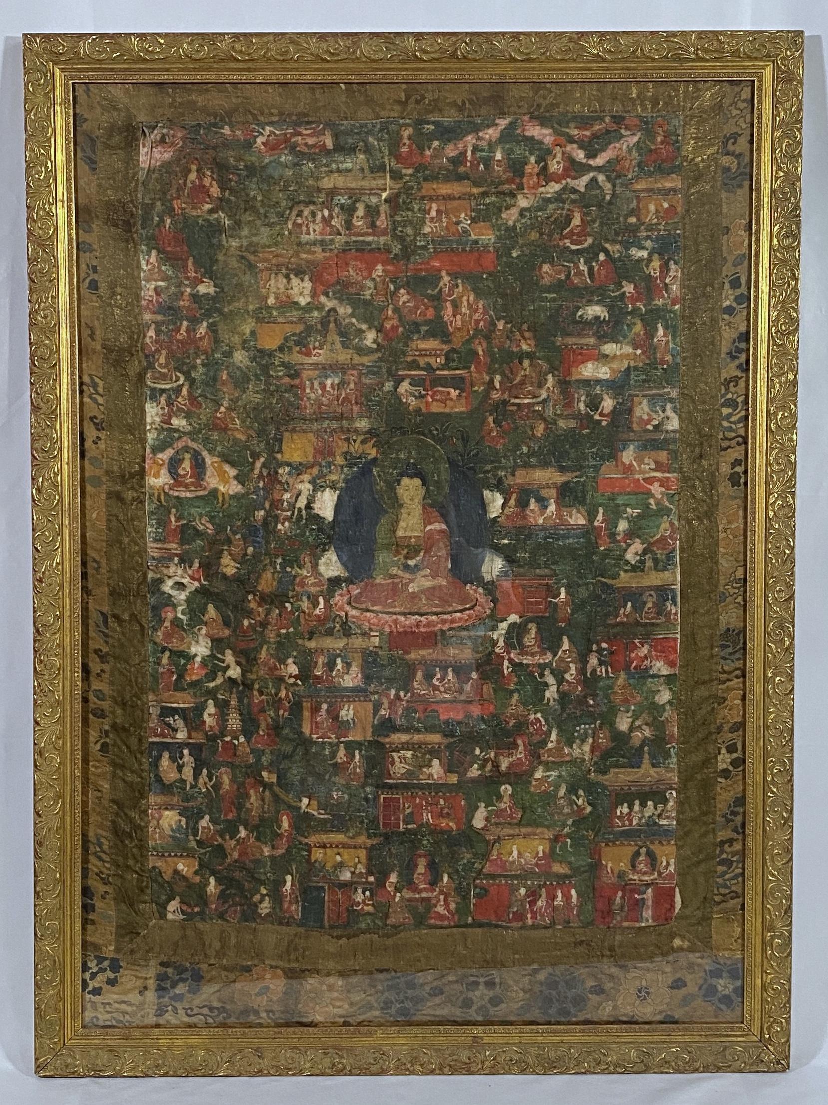 10304西蔵十六/十七世紀 釋迦牟尼 唐卡 額109.5×72.5cm