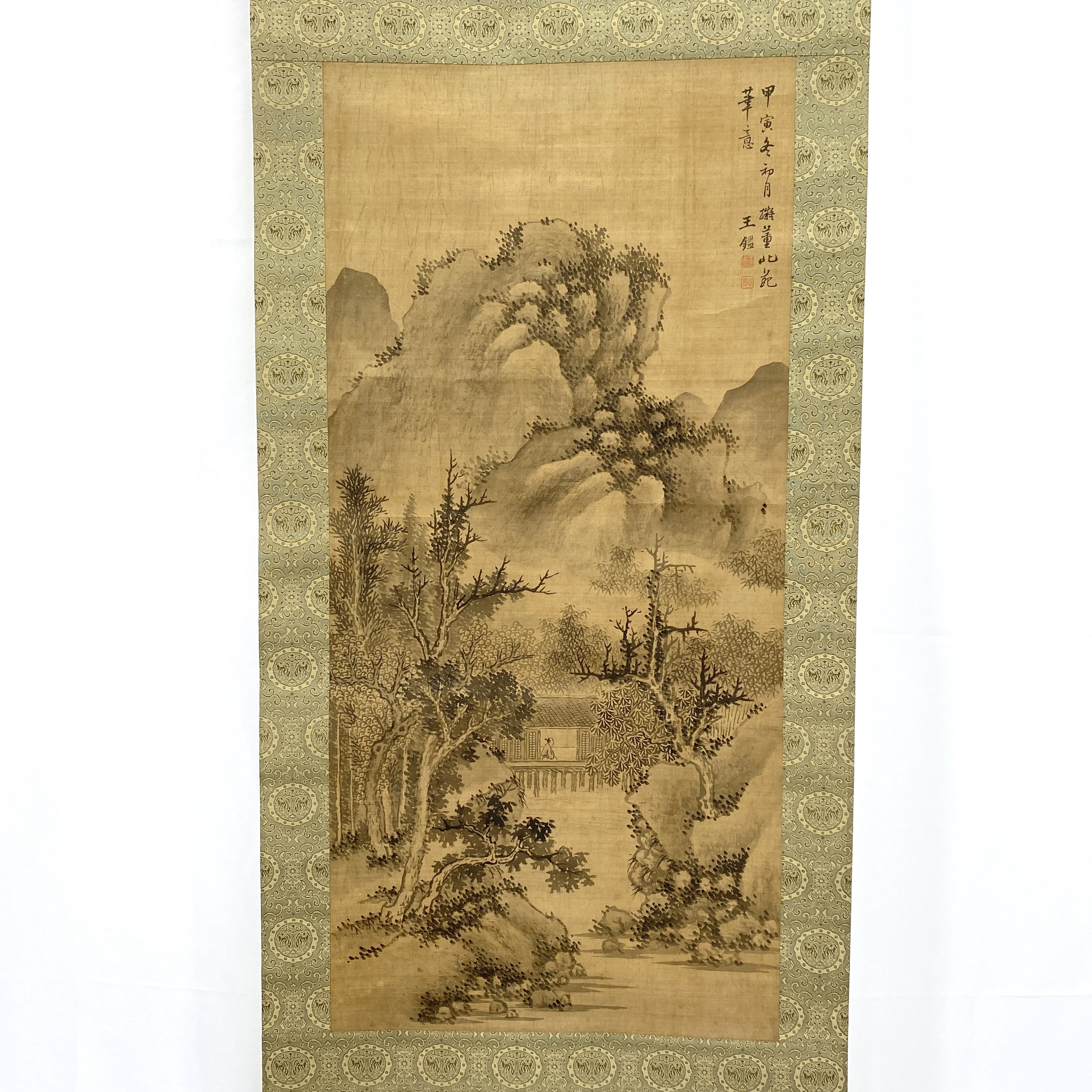 10313「王鑑」款 古画 山水図 軸84×39.5cm