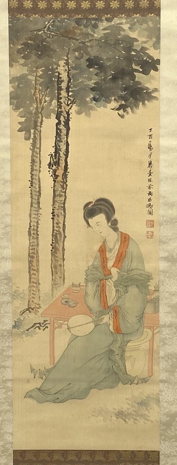 10315「鄧芬」画 仕女図 軸102.6×35.3cm