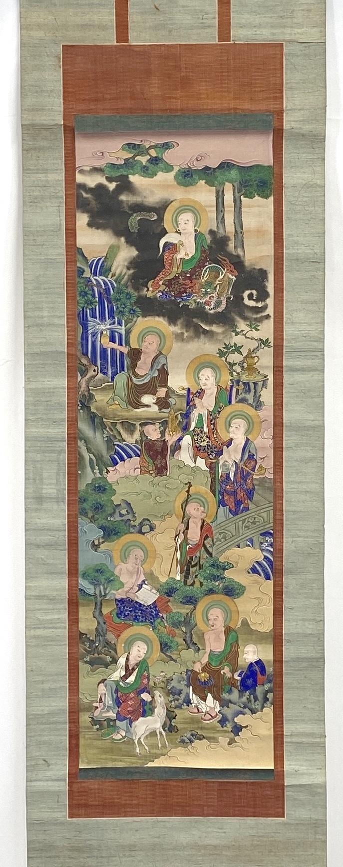 10324古画 十六羅漢図 双幅91×28cm