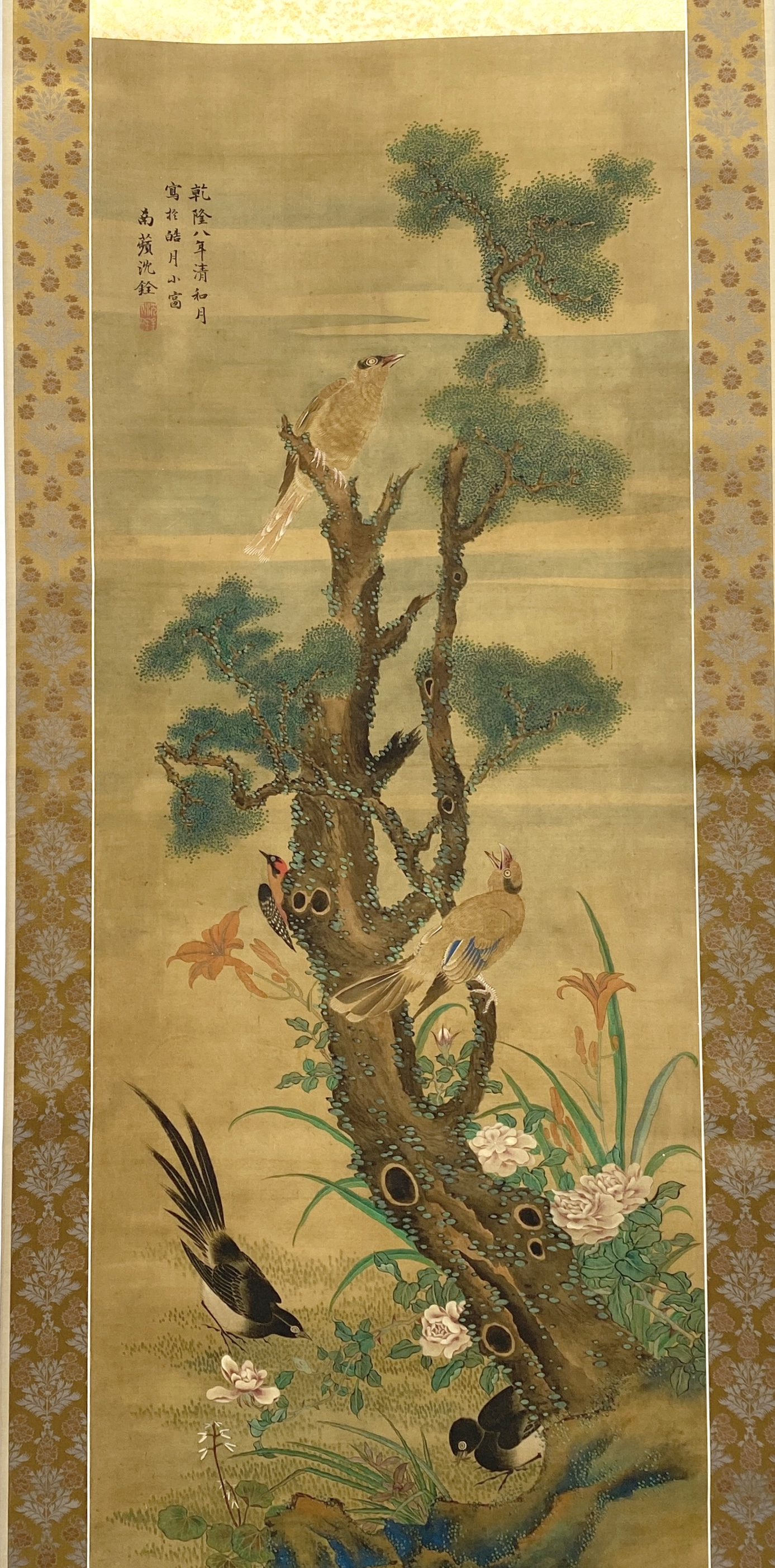 10340「沈銓」款 花鳥図 軸135×53cm