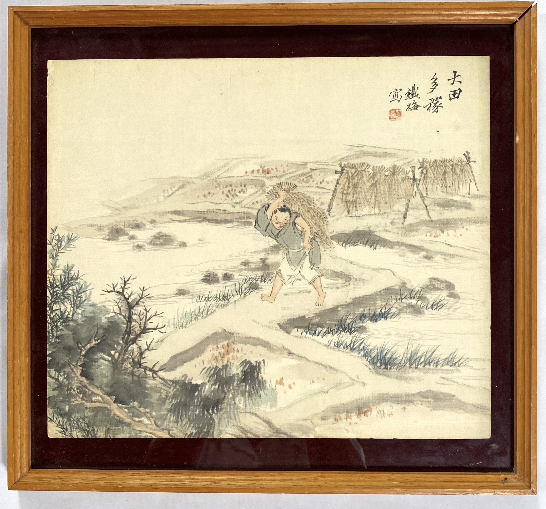 10347「胡鐡梅」画 農夫図 額29.5×34.5cm