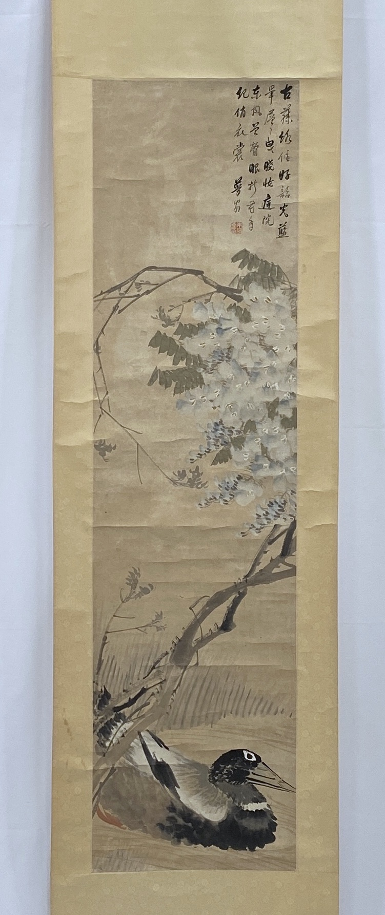 10350「朱夢蘆」画 花鳥図 軸135.5×35.5cm