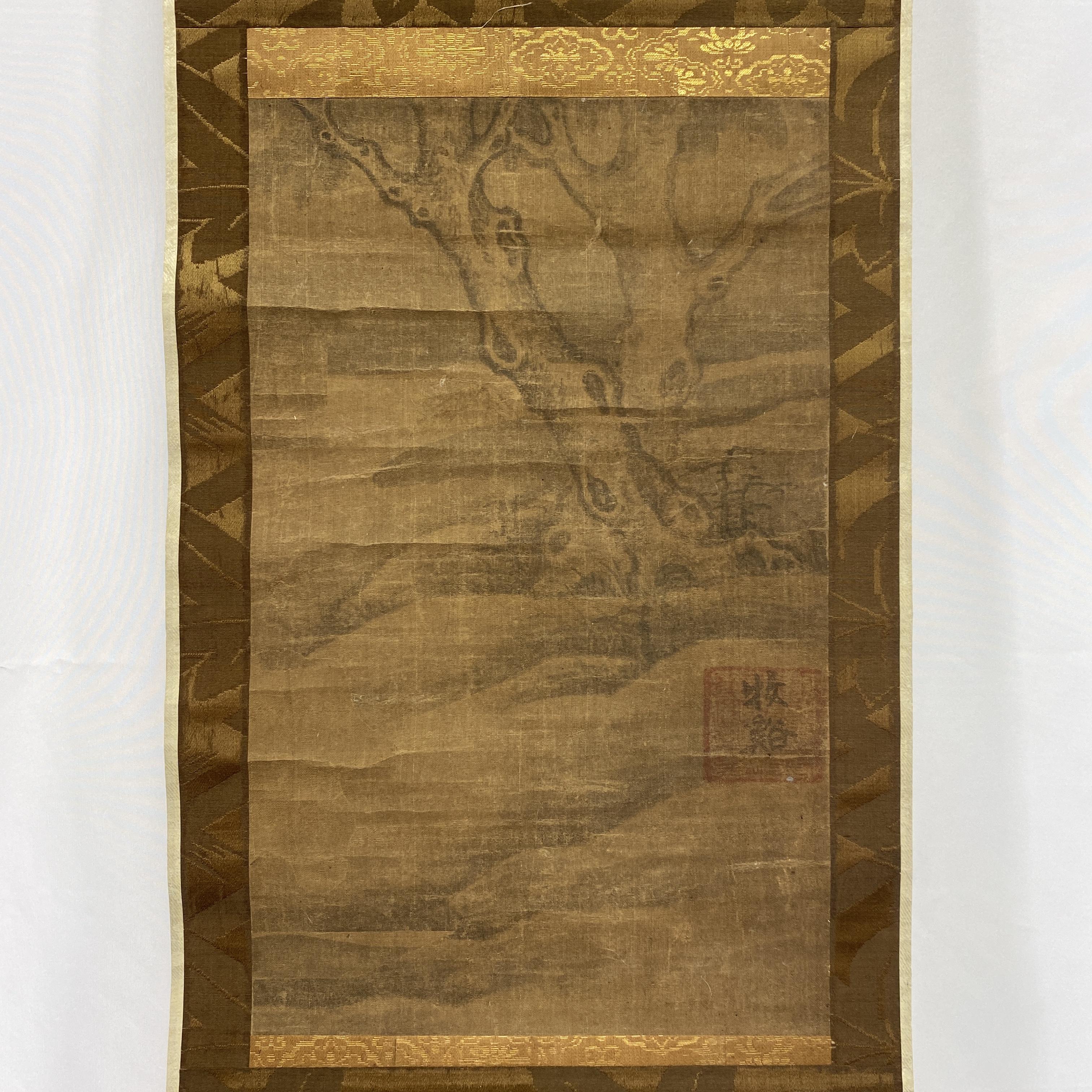 10353「牧谿」款 古画 古木図 軸37.2×23cm