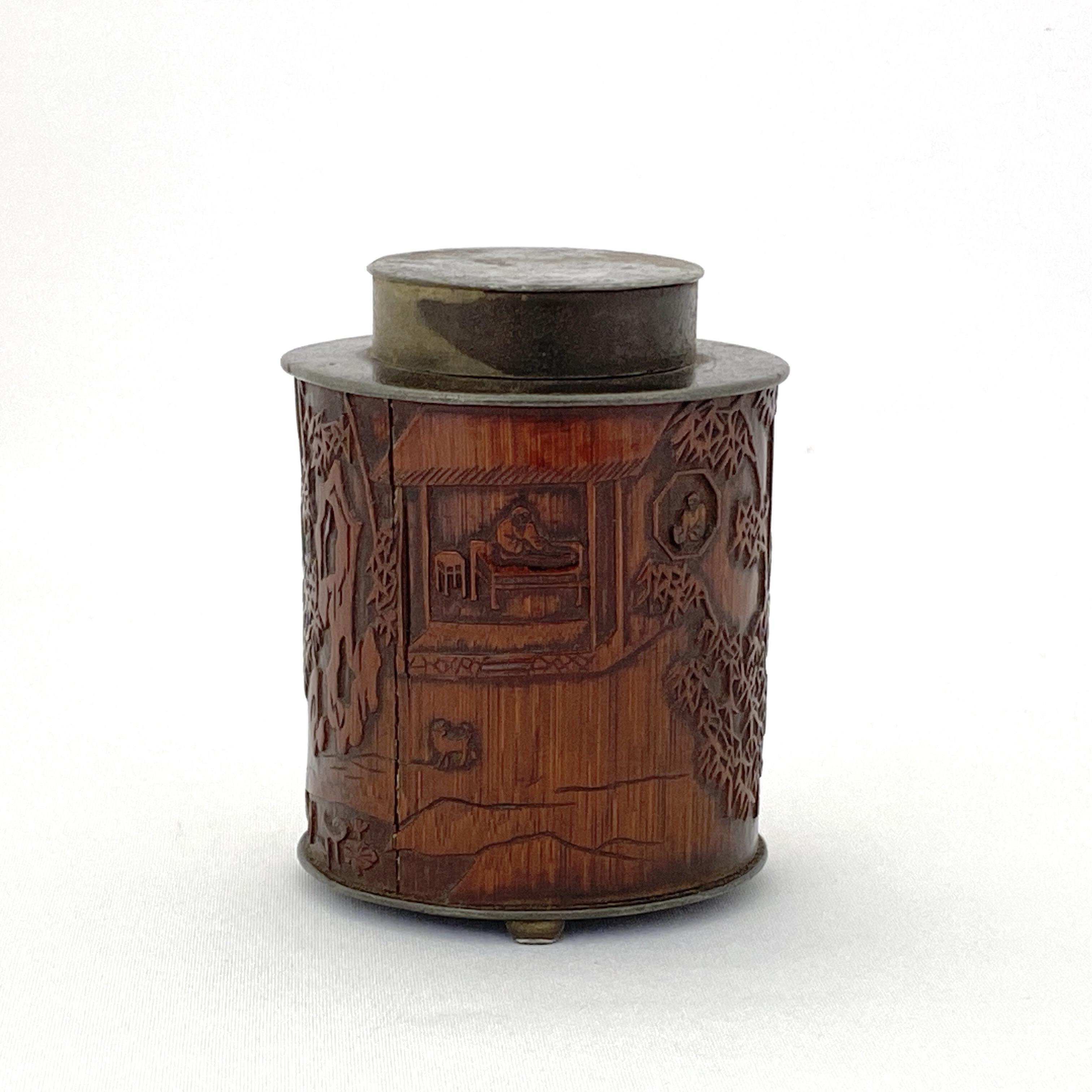 20153清 在銘 錫嵌竹雕 人物詩文紋 茶缸