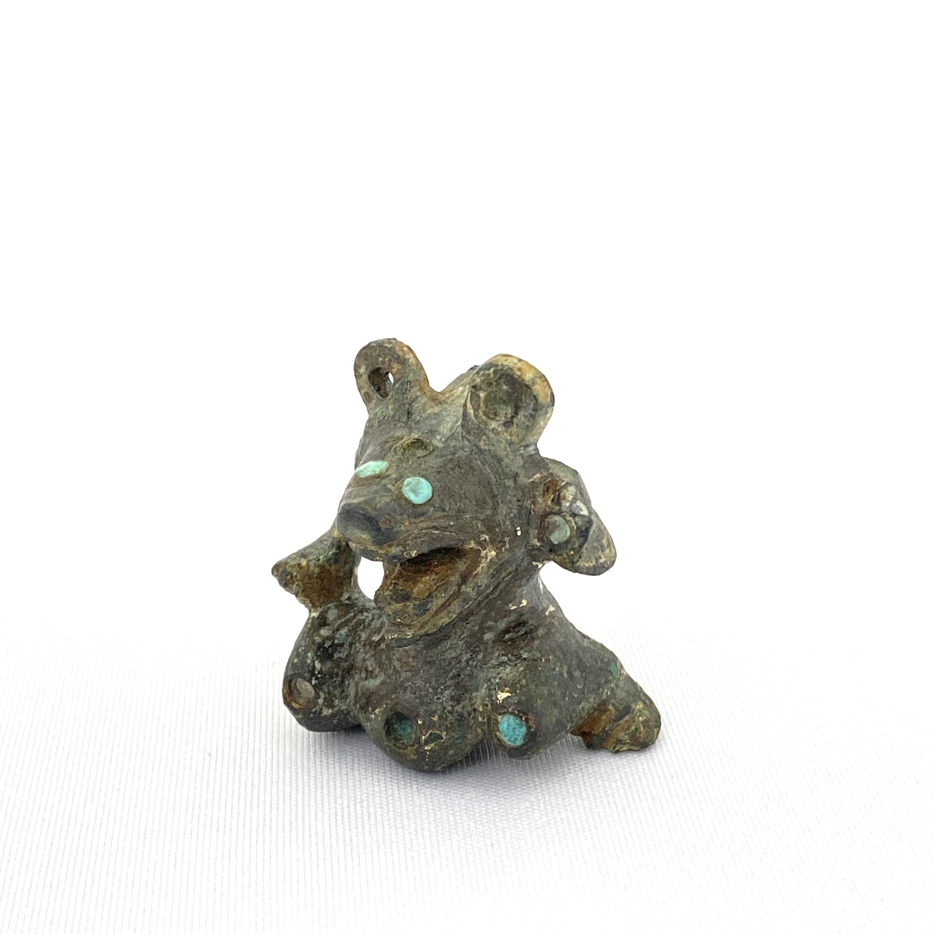 20017漢 青銅鎏金嵌松緑石 熊鎮紙