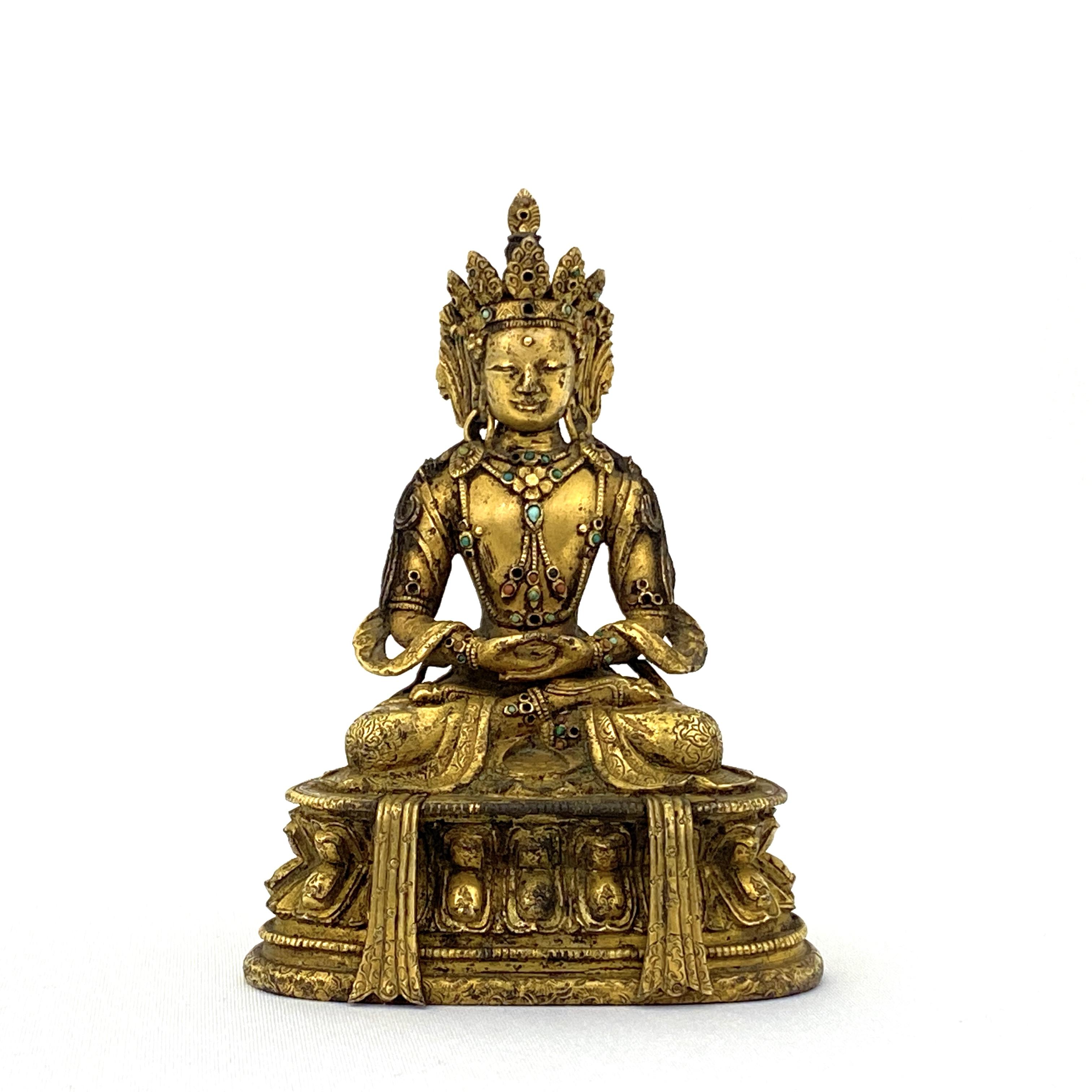 20023十七/十八世紀 銅鎏金嵌百寶 無量壽佛