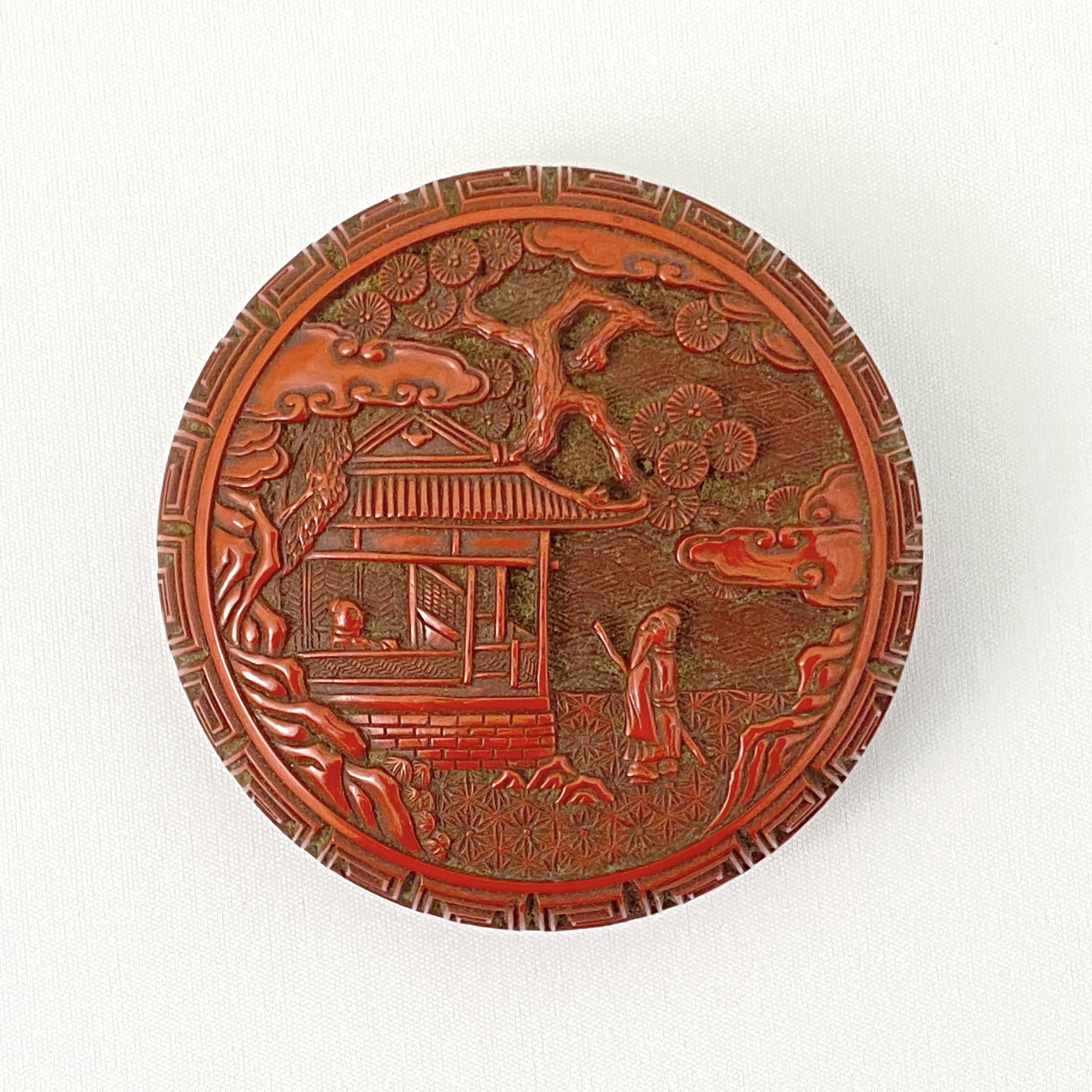 20036明 剔紅雕 樹下人物紋 圓盒