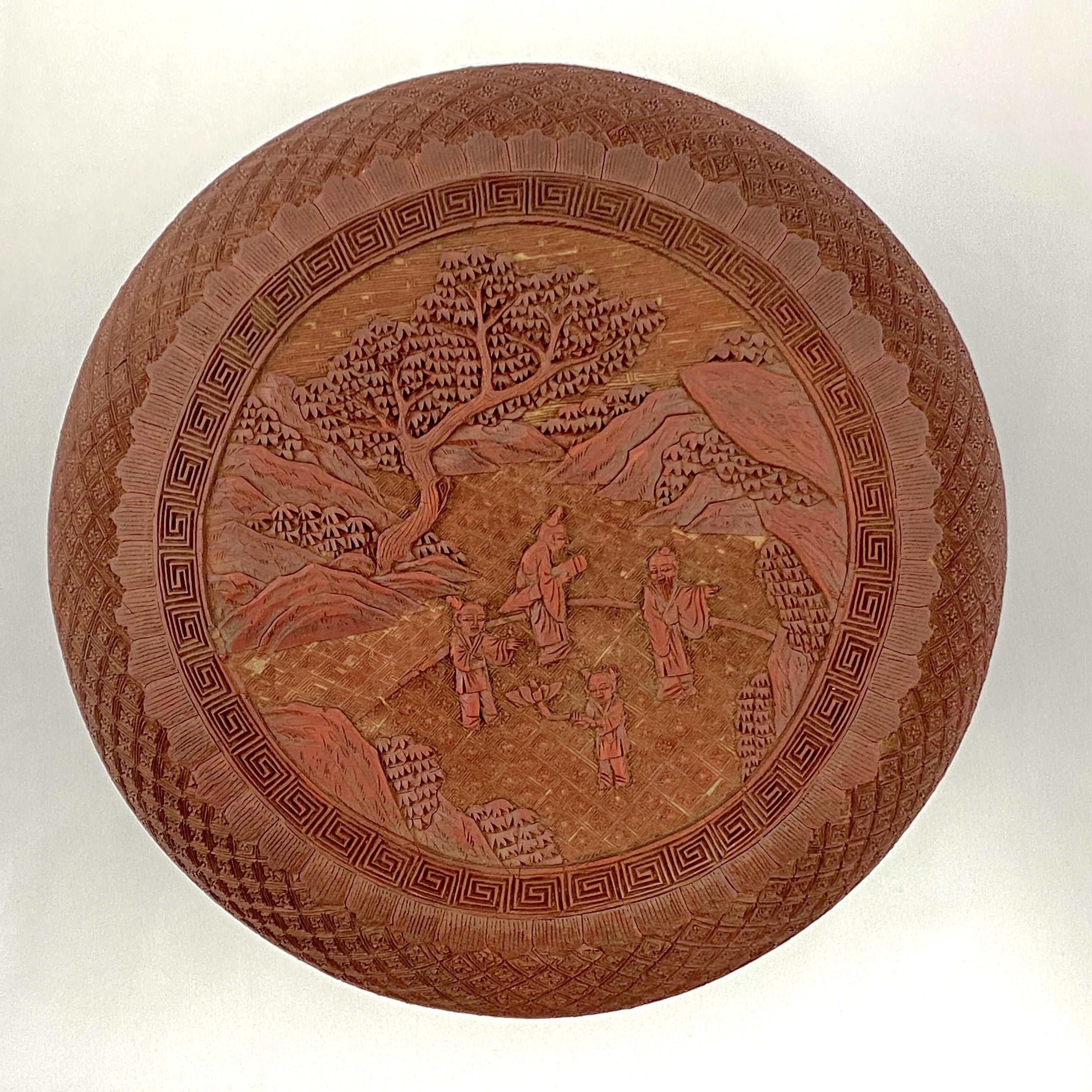20040清中期 剔紅雕 山水人物紋 蓋盒