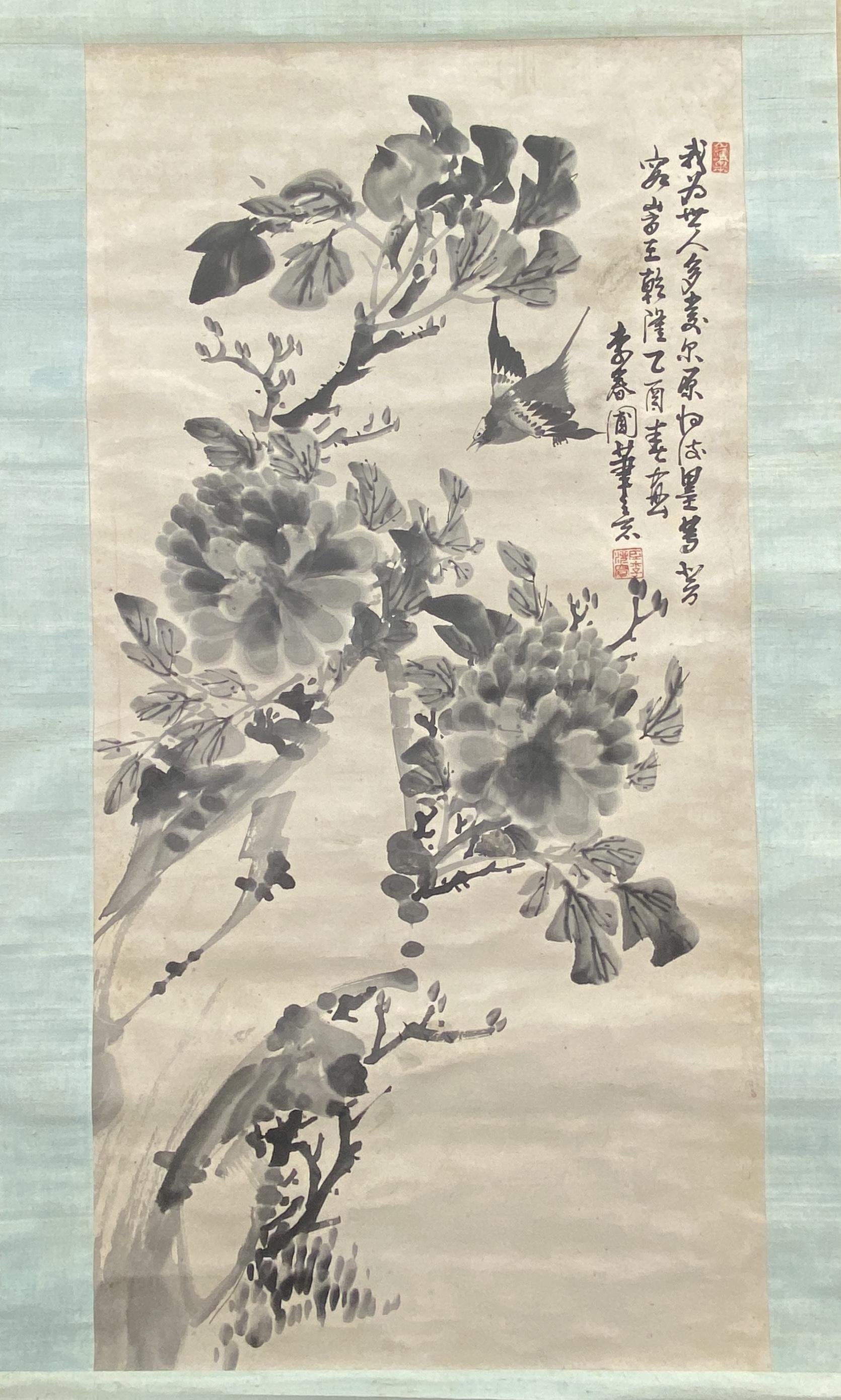 20551「乾隆~」「李春圃」画 花鳥図 軸95×48.5cm