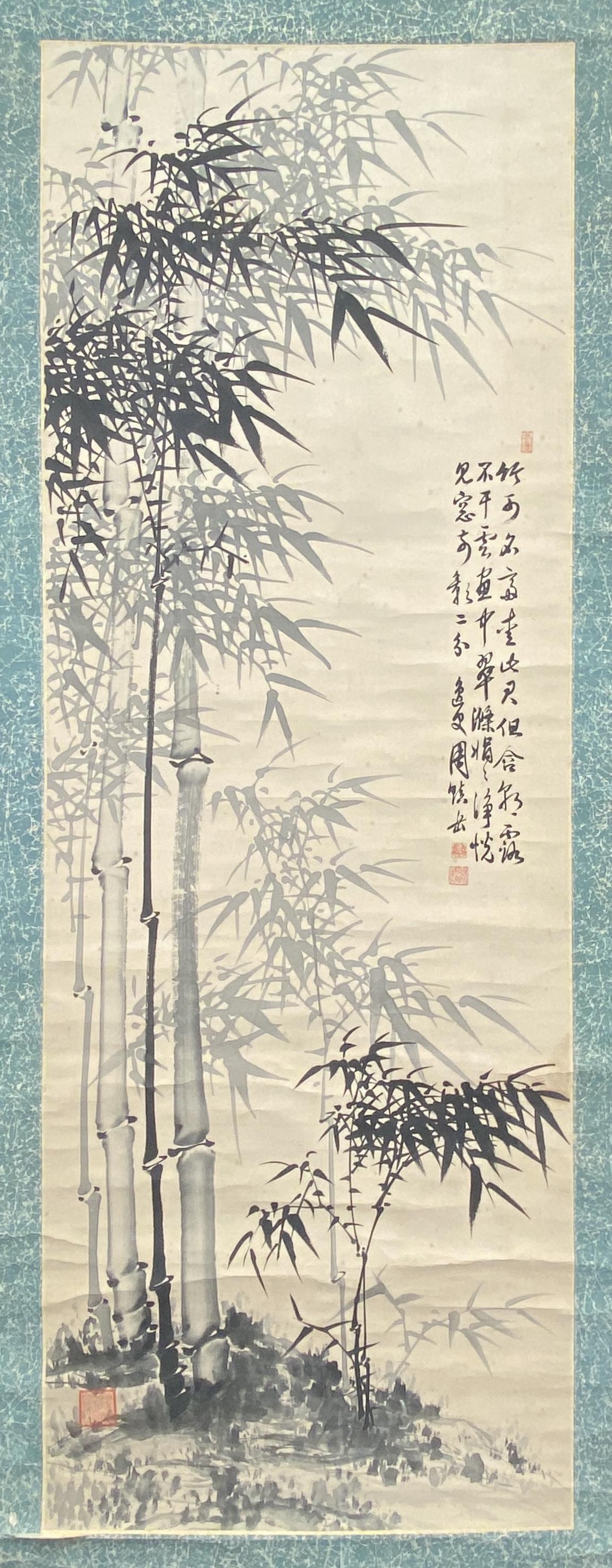 20552墨竹図 軸135×48cm