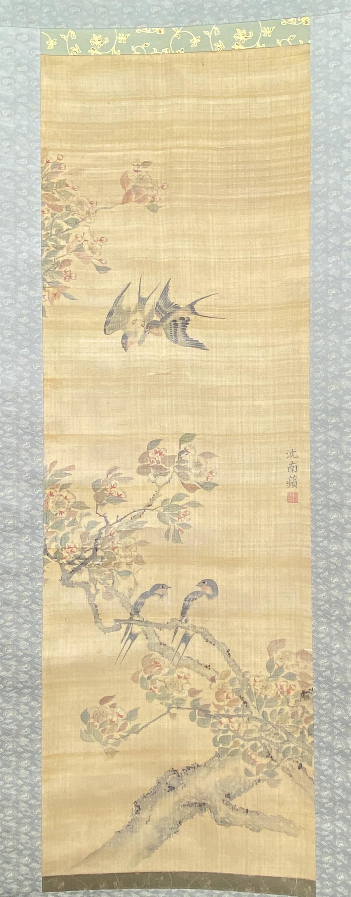 20554「沈南蘋」画 花鳥図 軸100.5×33cm