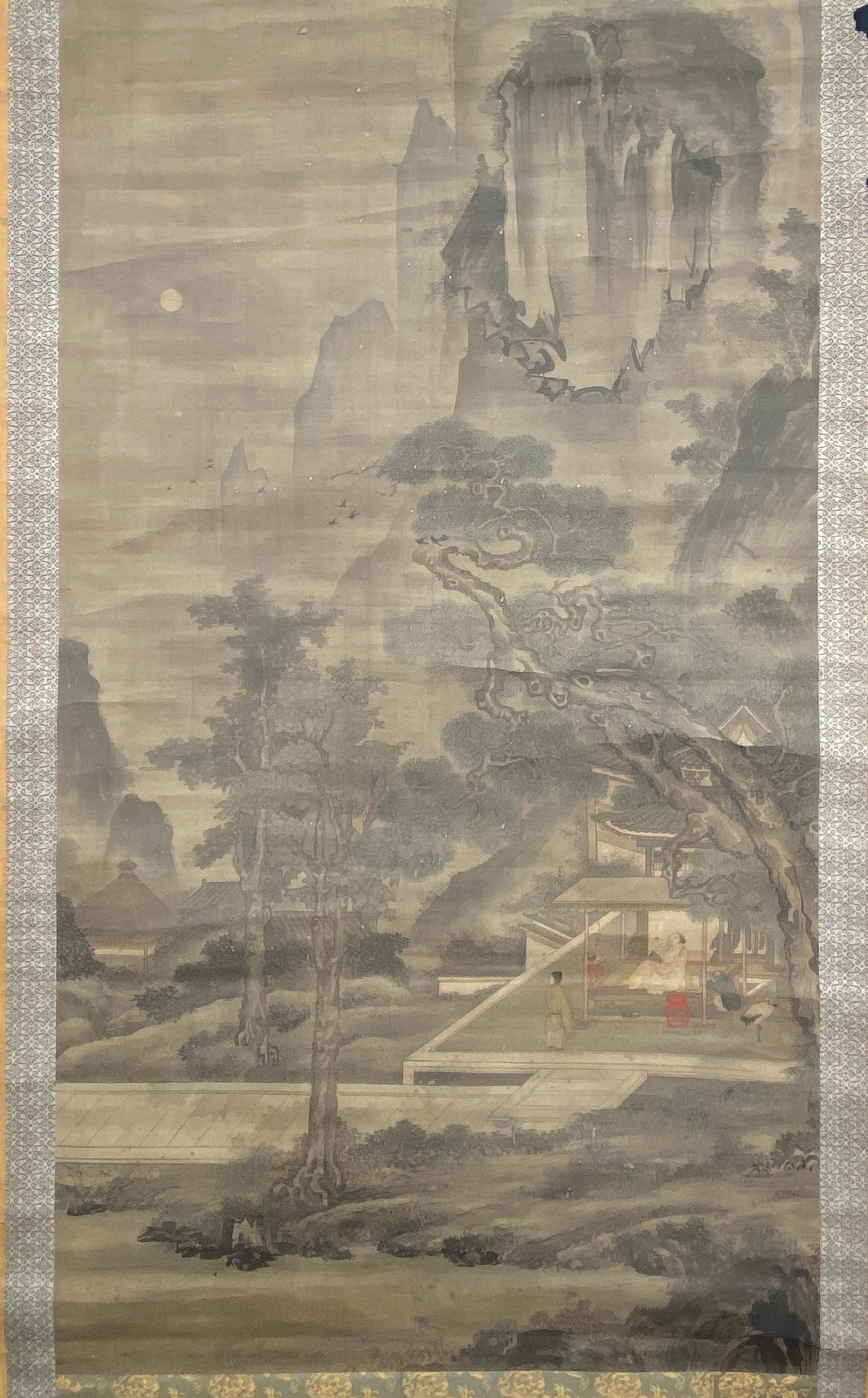 20560古画 山水人物図 軸156.5×83cm