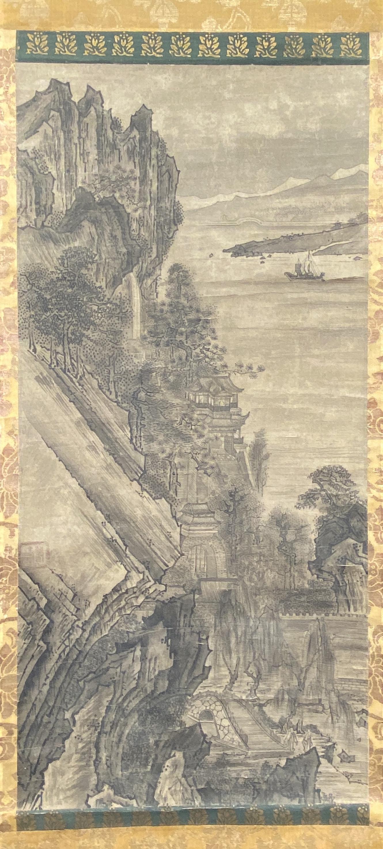 20561古画 山水図 軸58.5×28cm