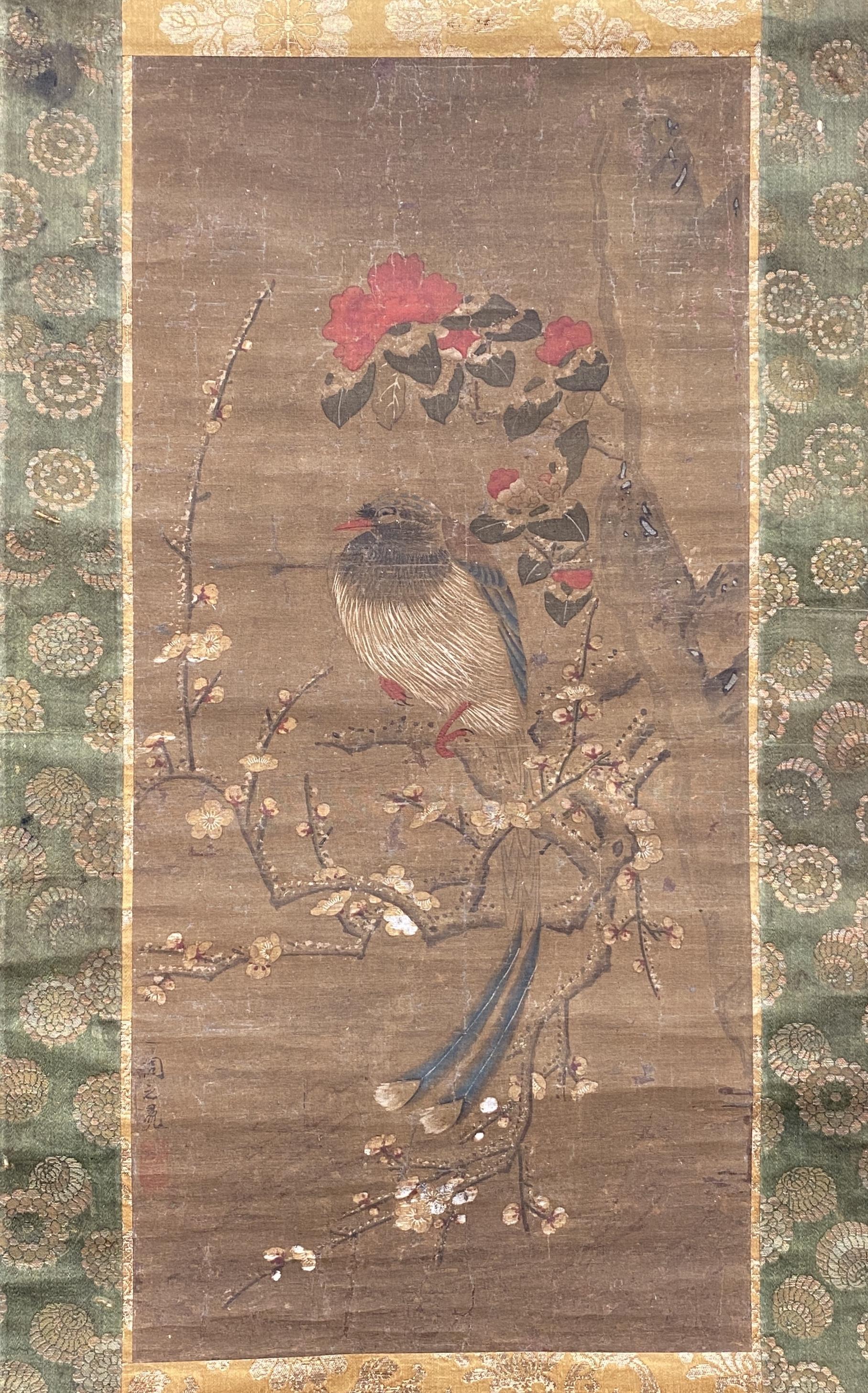20563古画 花鳥図 軸62.5×30cm