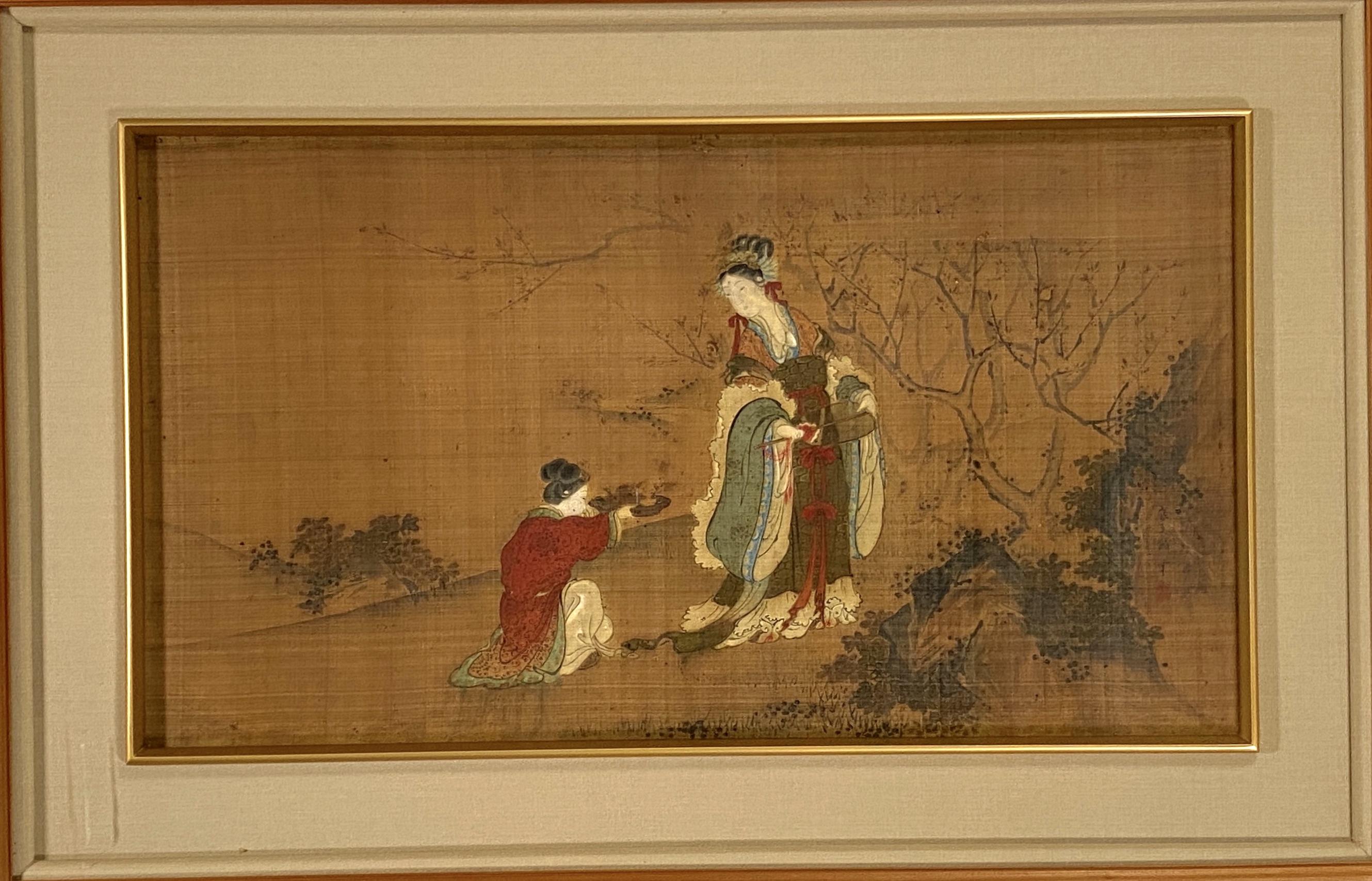 20567在銘 古画 西王母図 額39×69cm